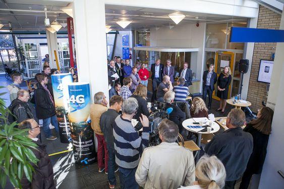 Ingen ting å si på oppmøtet fra pressen da Telenor onsdag markerte åpningen av sitt 4G-mobilnett på Ullevål sykehus.