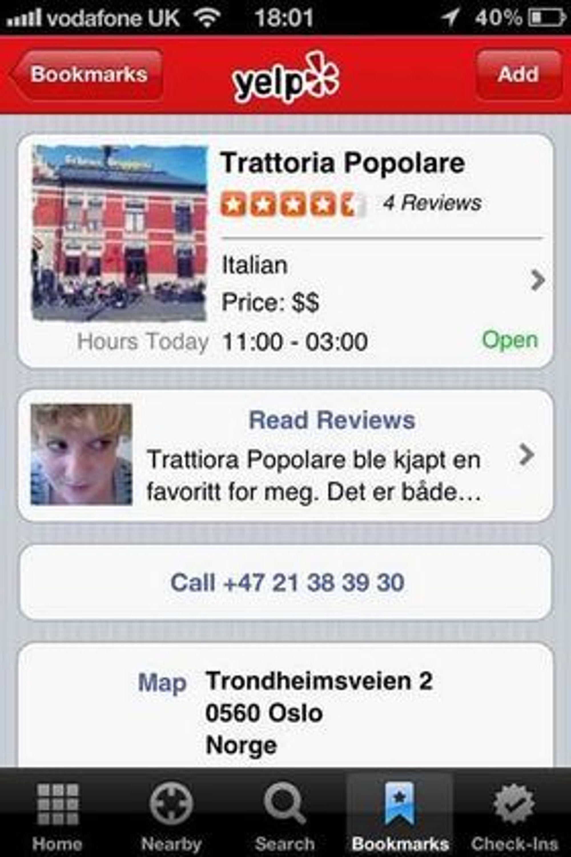 Den amerikanske nettjenesten Yelp etablerer seg i Norge. Her er anmeldelsen fra en restaurant i nede del av Grünerløkka i Oslo.