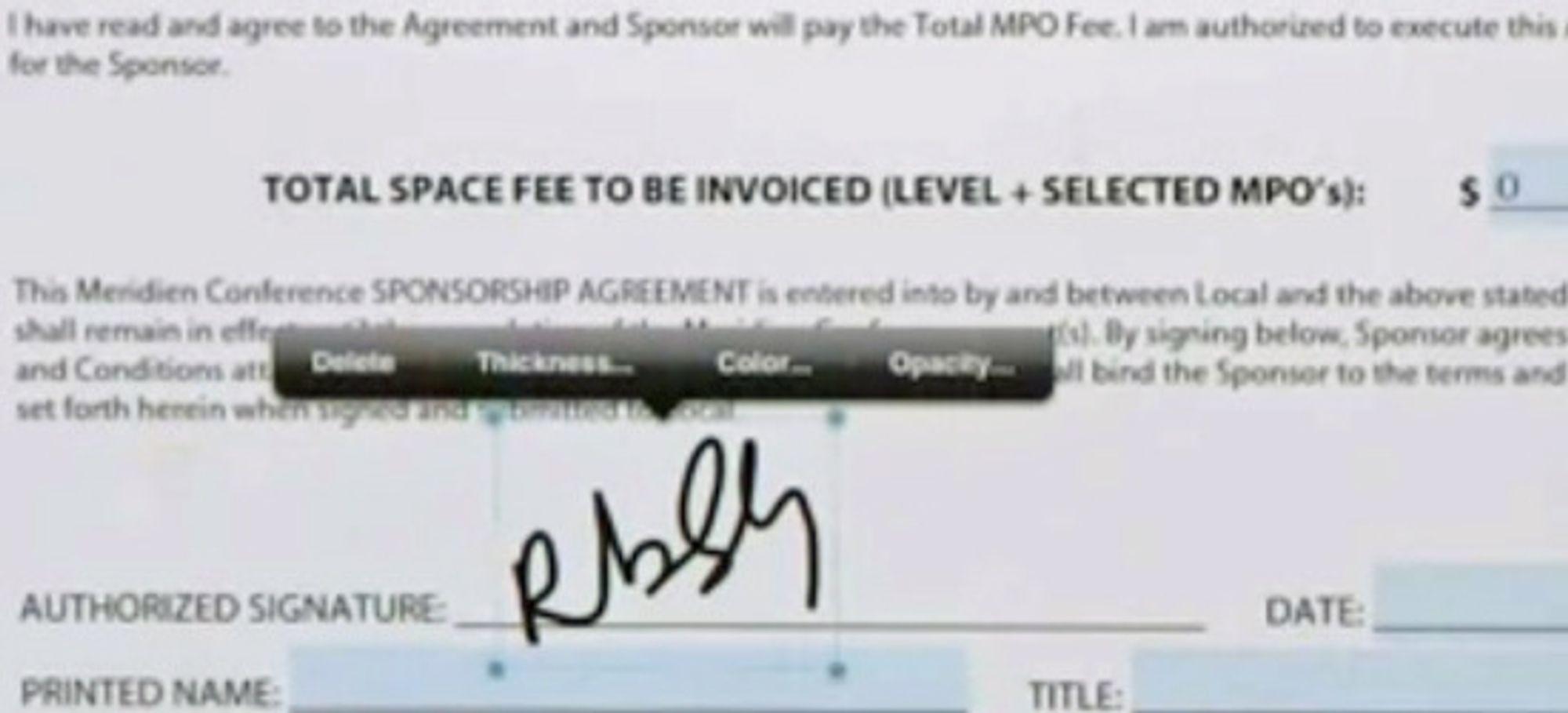 Detalj fra skjema under signering: Man kan justere underskriftens plassering, strektykkelse og farge. De lyseblå feltene er interaktive og fylles ut som vanlig fra tastaturet.