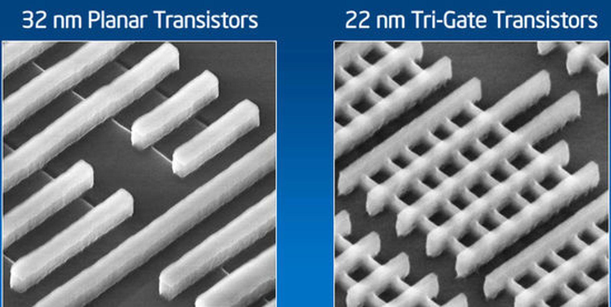 Mikroskopbilde av Intels Tri-Gate-transistorer, sammenlignet med Intels vanlige planartransistorer.