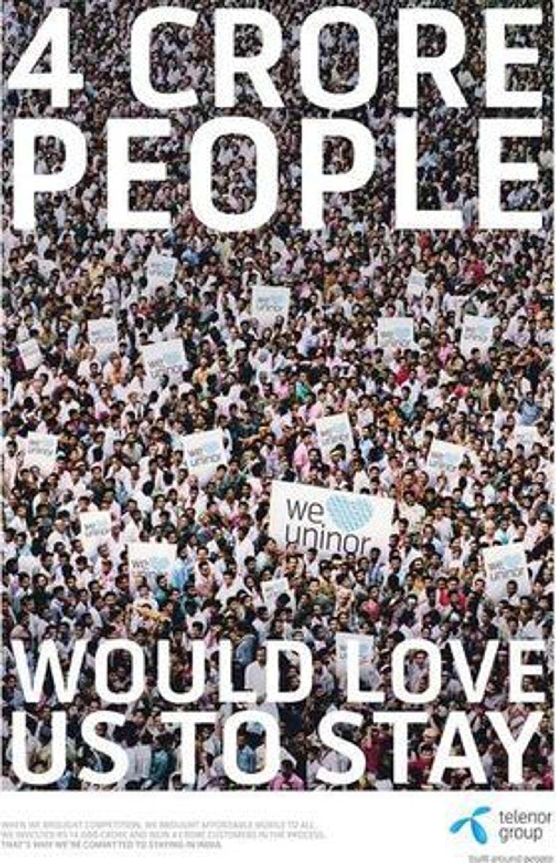 40 millioner mennesker ønsker at vi skal bli, står det på denne plakaten som Telenor sprer i India.