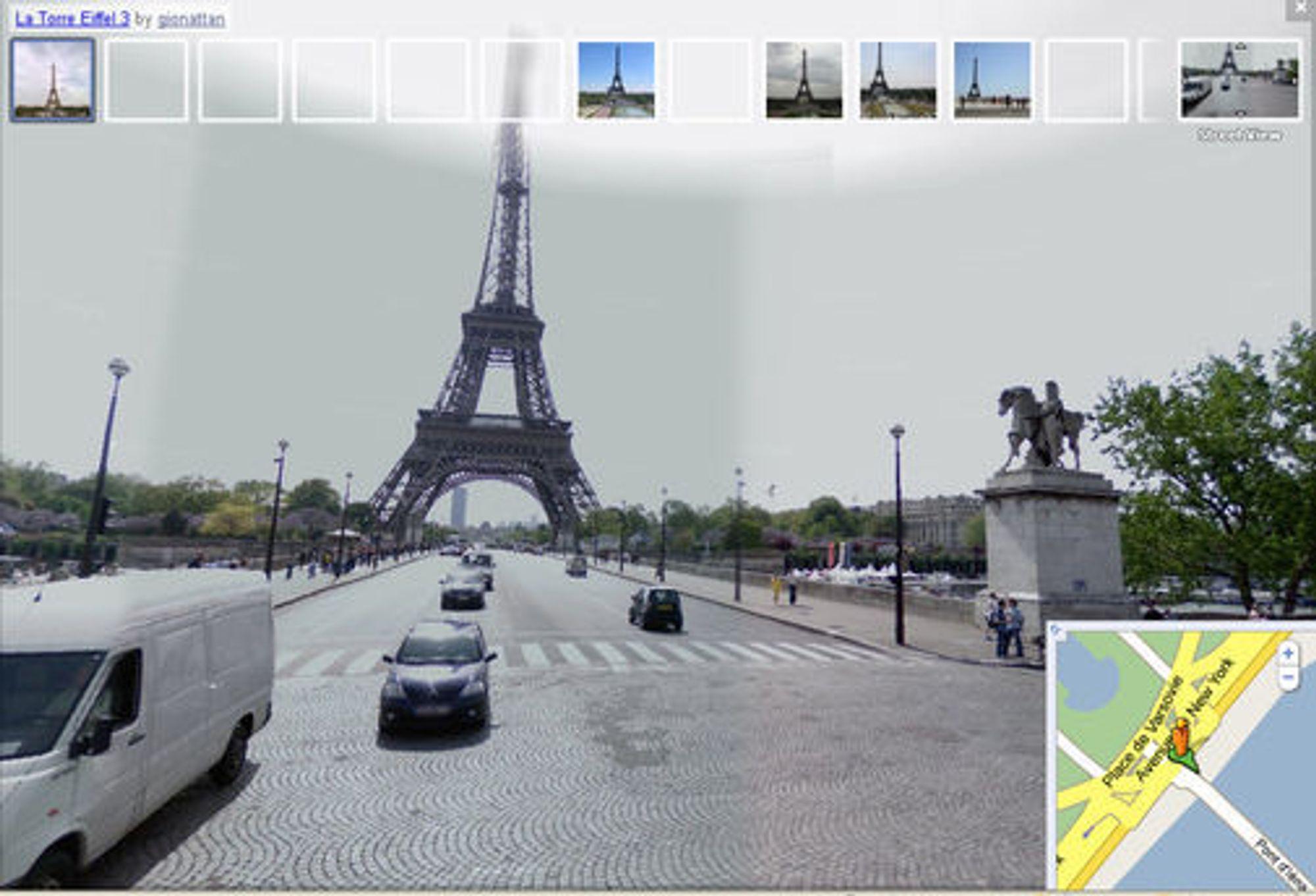 Bildeikonene som vises på toppen av Street View-bildet er hentet fra Panoramio. Man kan klikke på disse for å se en større versjon.