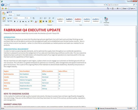 Redigering i en kommende webutgave av Microsoft Word.