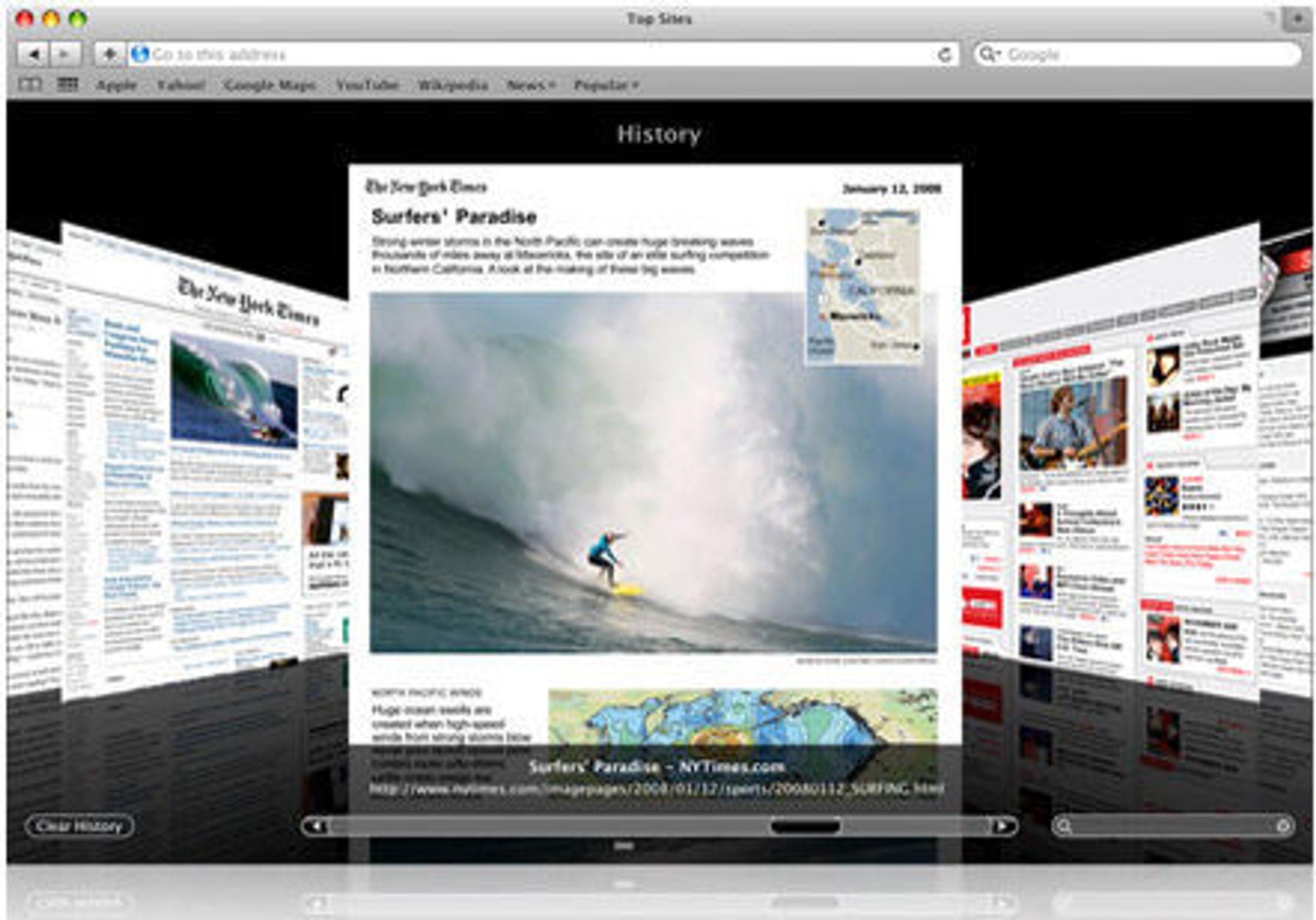 Safari 4 med Cover Flow i resultatene fra søk i nettleserhistorikken.