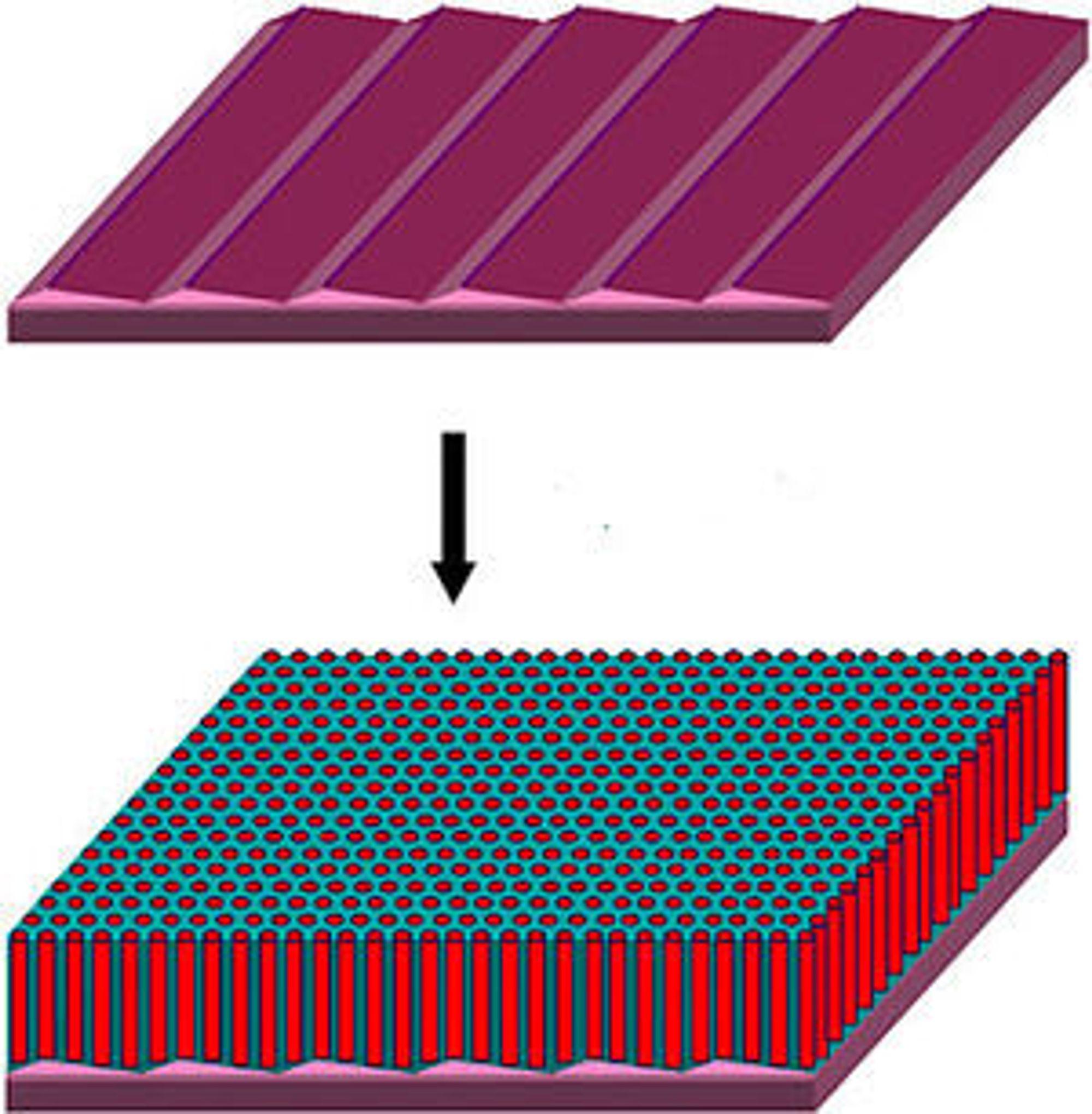 Sagtannformede rygger laget av safirkrystaller danner retningslinjer for matriser av elementer i nanometer-størrelsen. (Illustrasjon: Dong Hyun Lee/UMass Amherst)