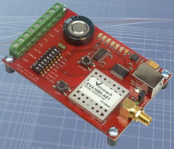 Evalueringskortet EVA1080-A51 med den nye GPS-modulen.