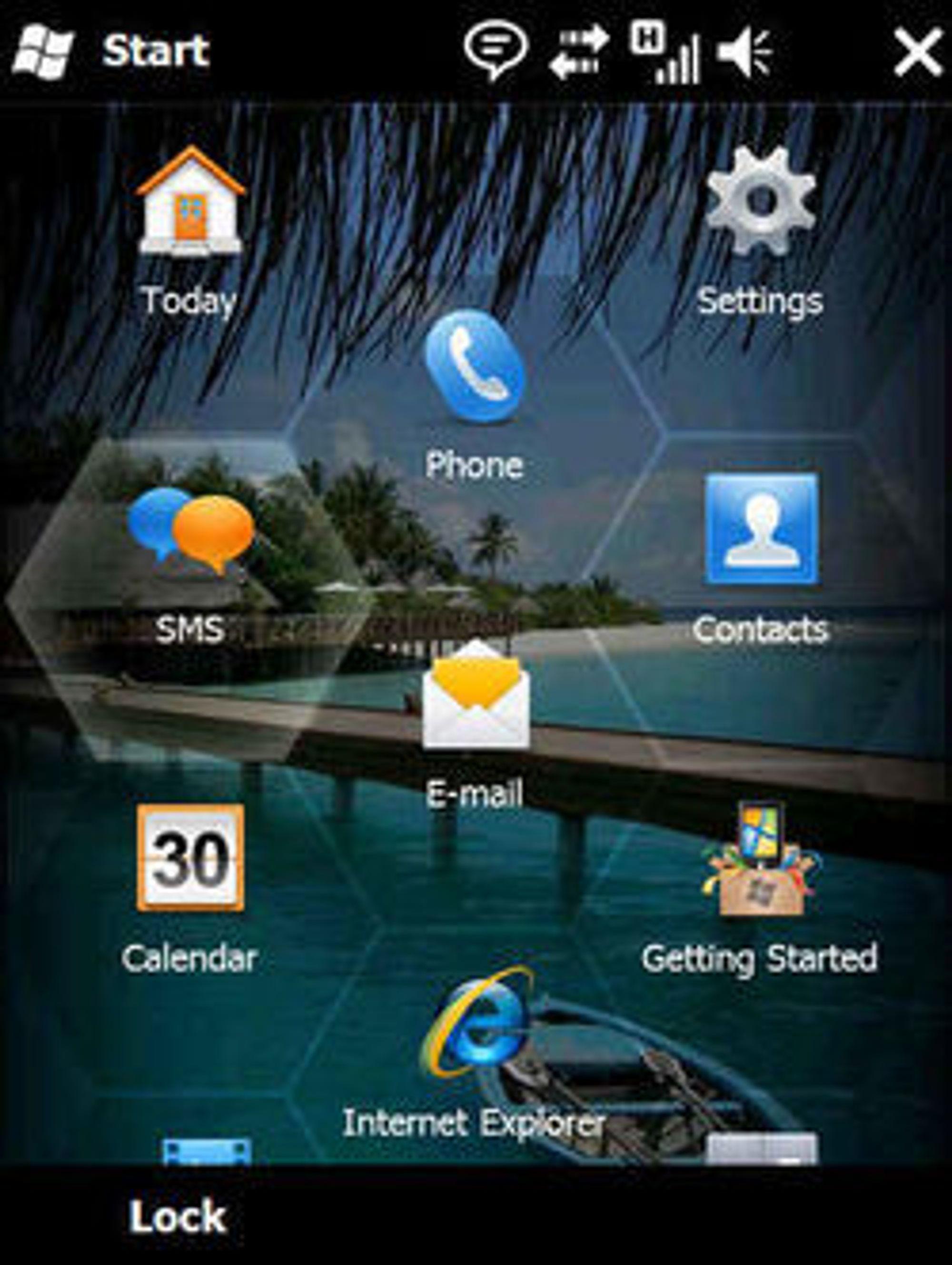 Den vanlige startskjermen til Windows Mobile 6.5.