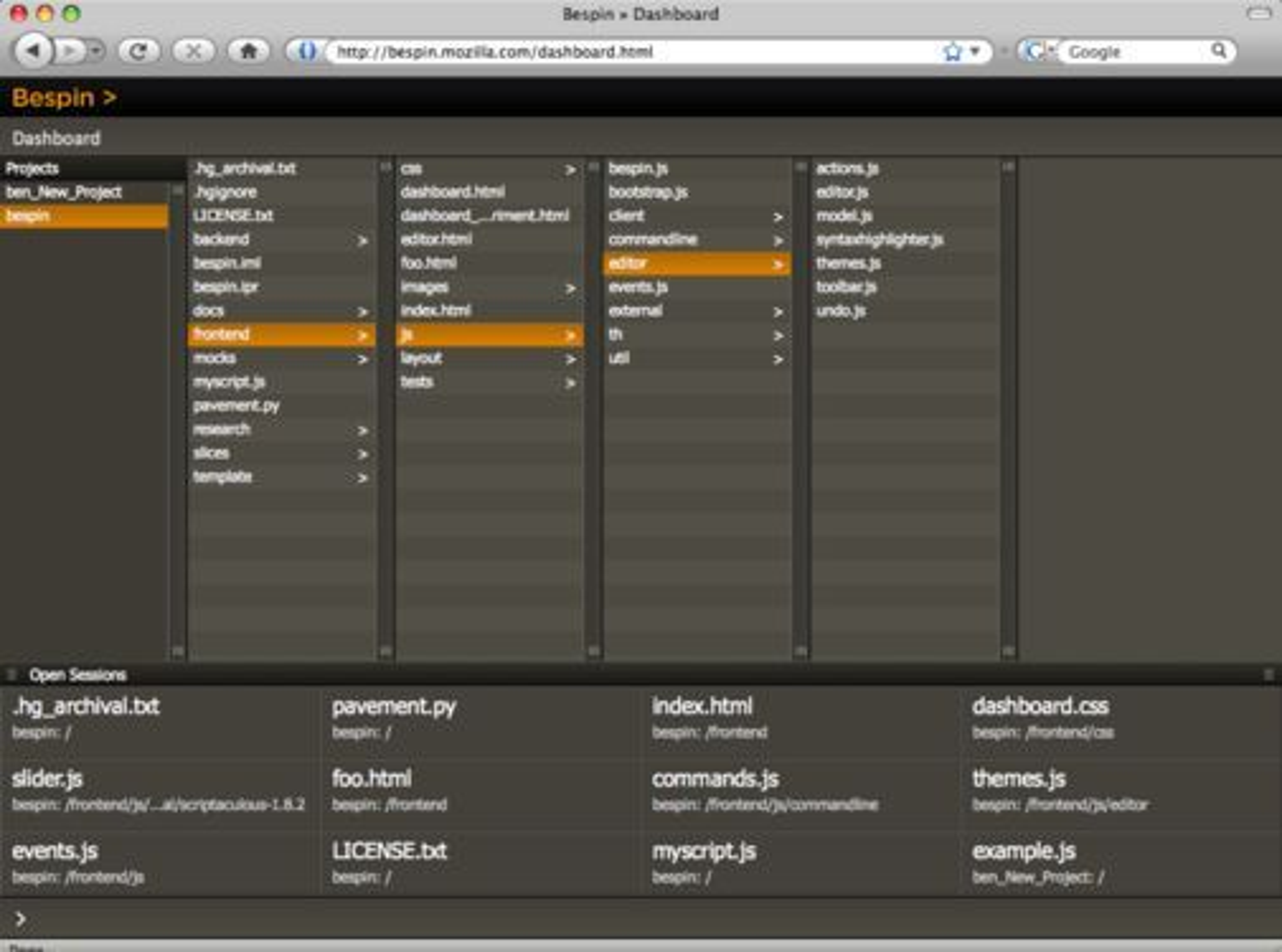 Mozilla Bespin-dashbordet.