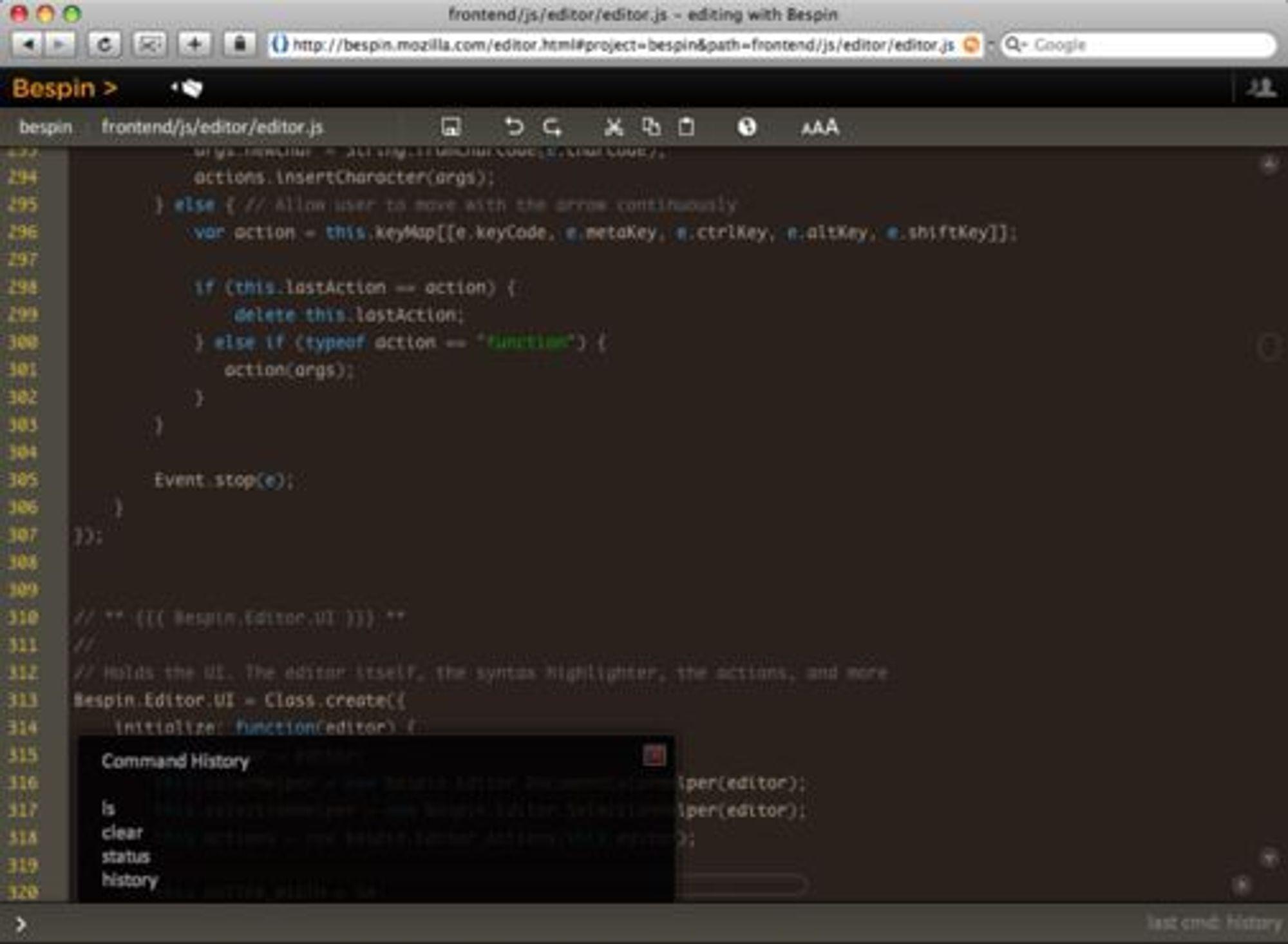 Koderedigeringsdelen av Mozilla Bespin