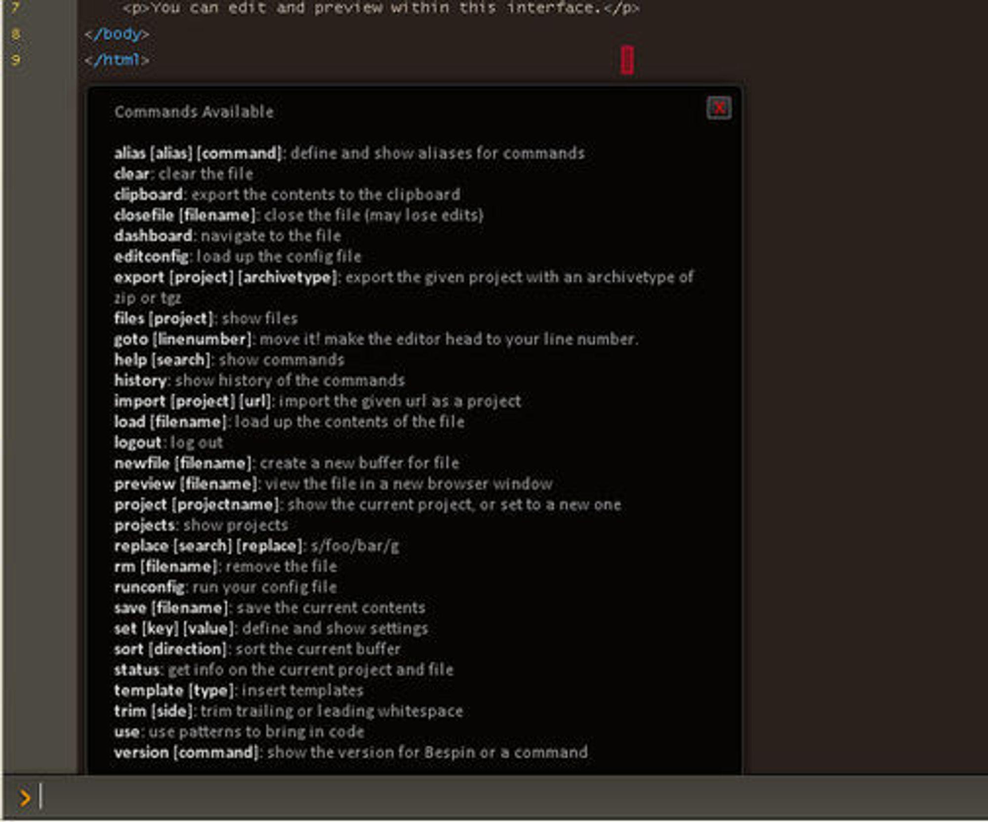 Tilgjengelige kommandoer i Mozilla Bespin 0.11.