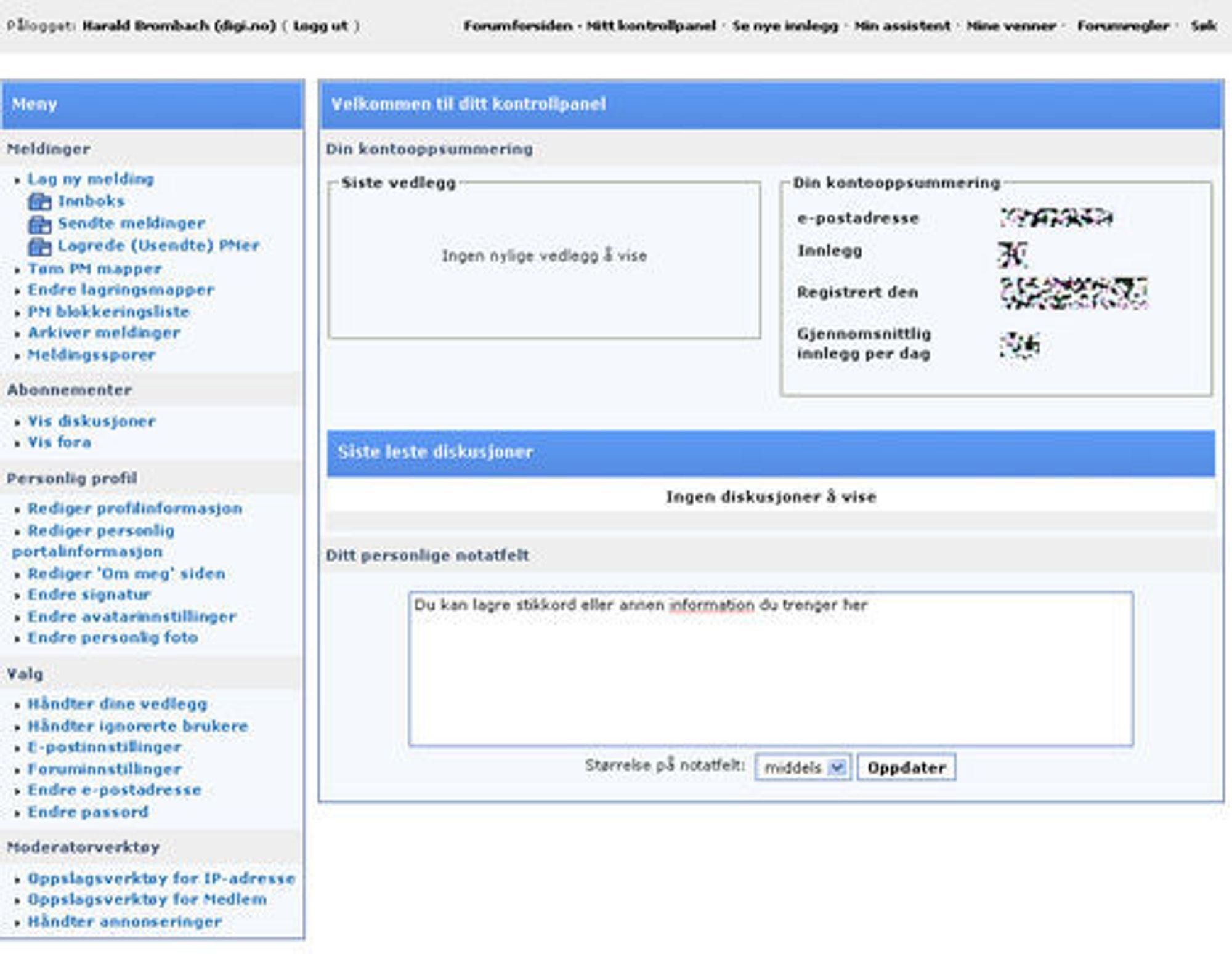 Kontrollpanelet til brukerne av digi.no Forum.