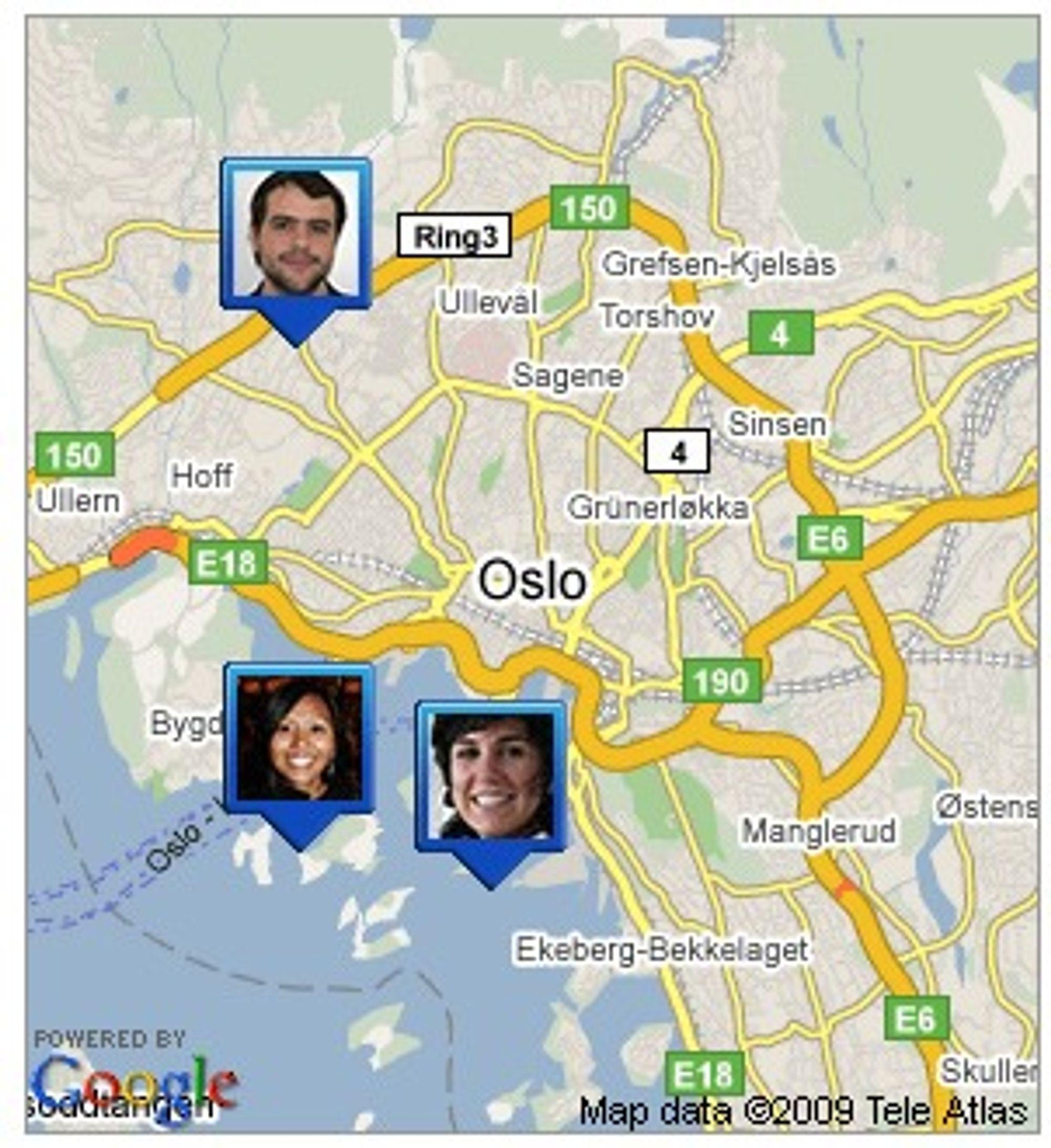 Google Latitude på mobilen