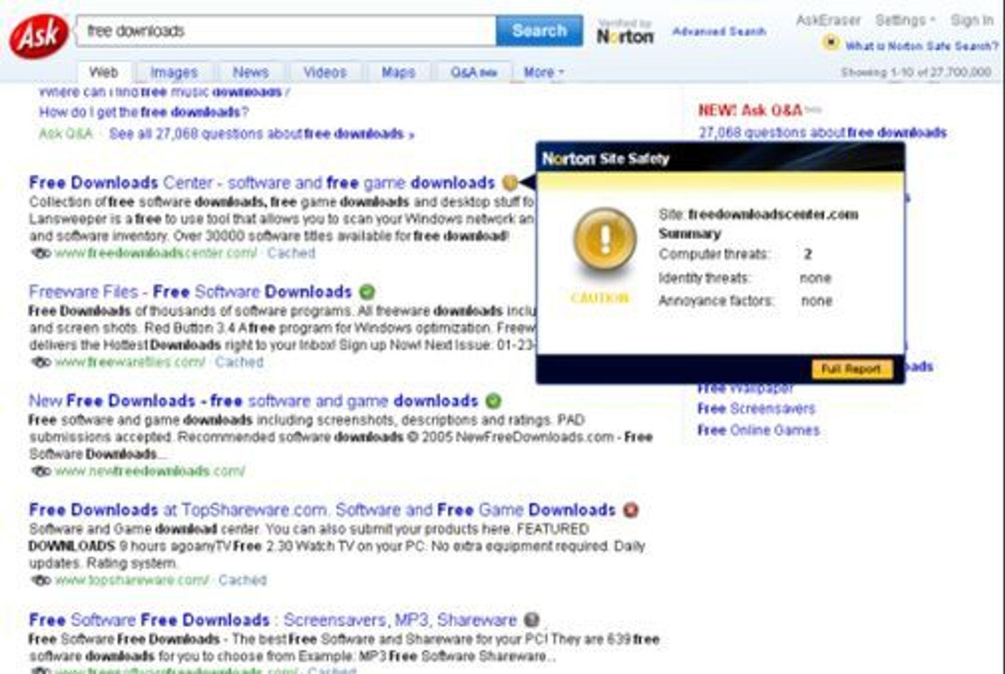 Kun for Norton-brukere: Egne fargeikoner indikerer om nettstedet er trygt å besøke, usikkert eller farlig. Ved å bevege muspekeren over ikonene får brukeren ytterligere detaljer.(Foto: Ask/Symantec)