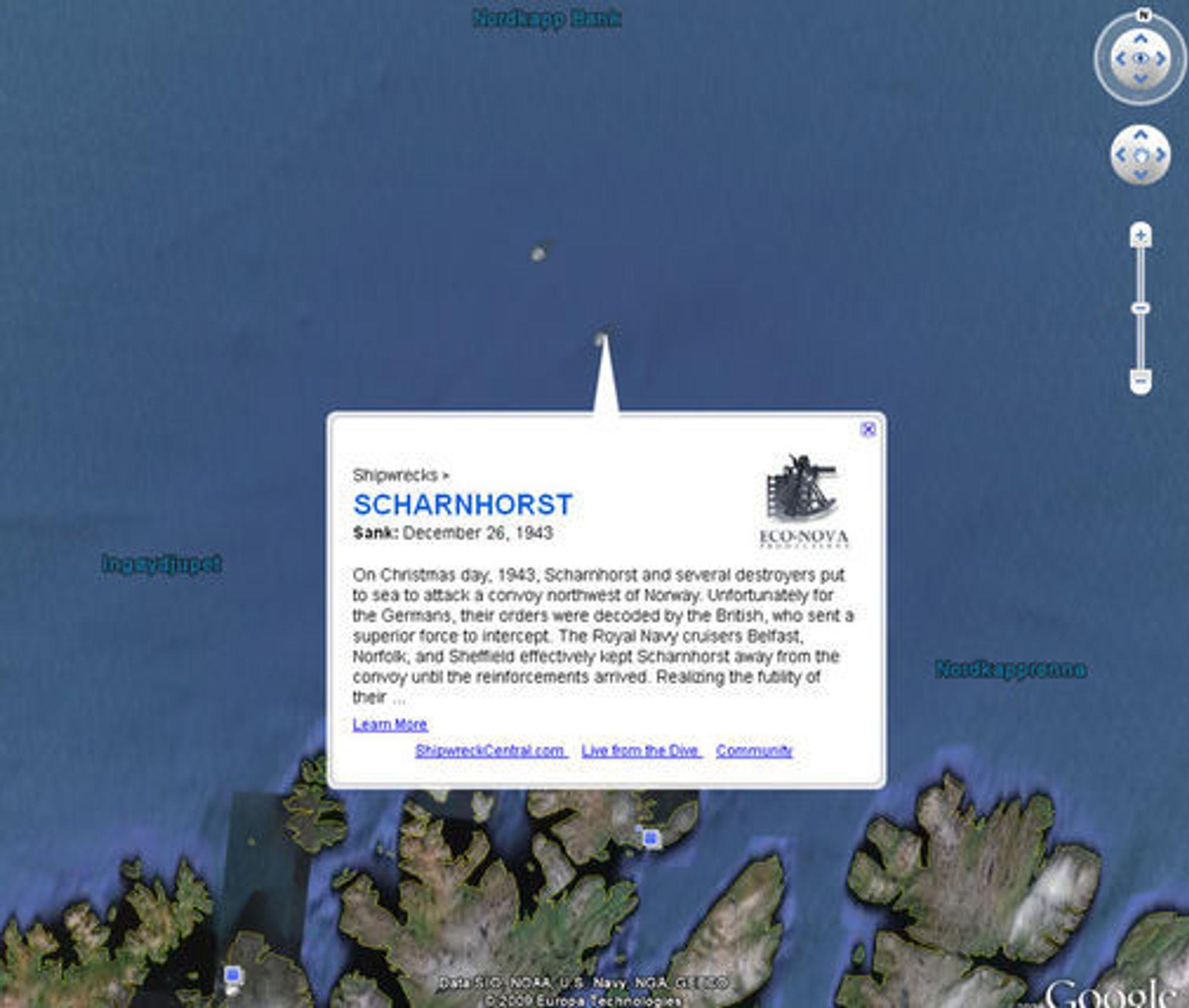 Vraket av det tyske krigsskipet Scharnhorst ligger nord for Nordkapp.