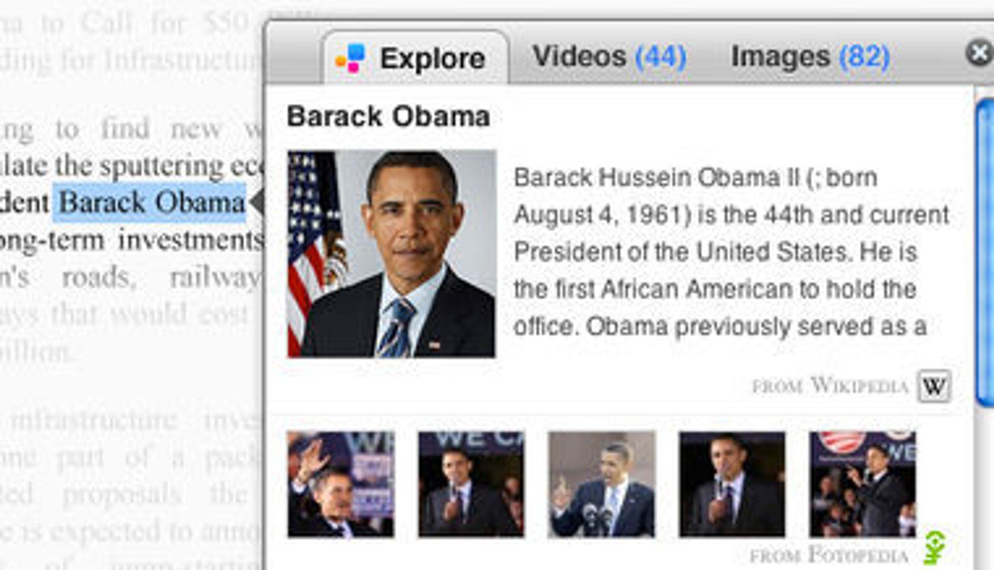 Apture Highlights åpner et vindu med mer informasjon om ordene brukeren har markert i en webside.