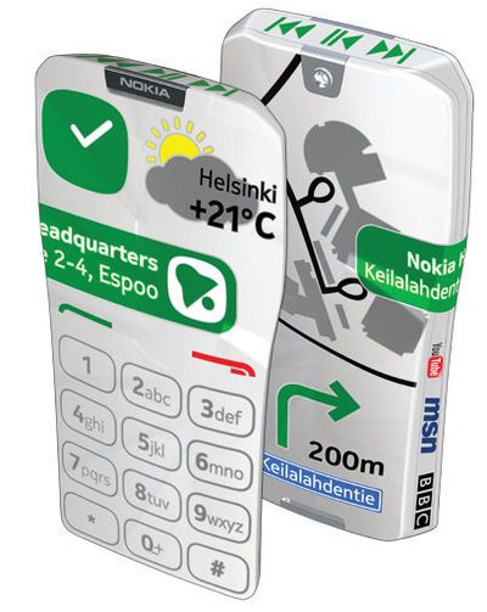 Konseptmodellen Nokia GEM har berøringsskjerm som dekker nesten hele overflaten.