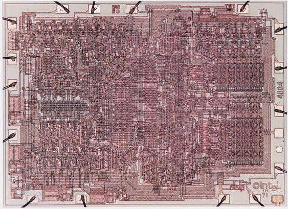 Innmaten i Intel 4004-prosessoren.
