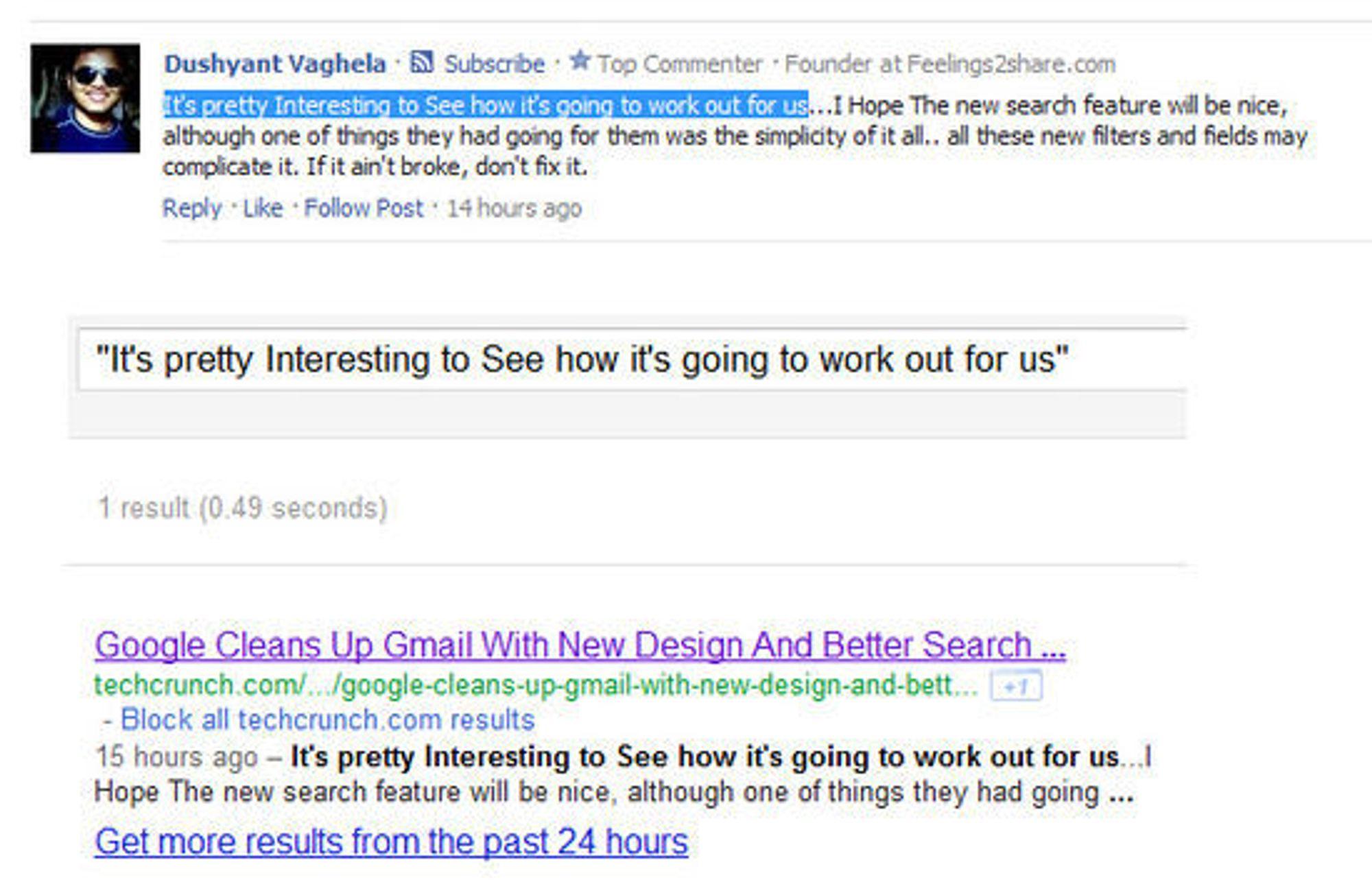 Google indekserer nyere innlegg i Facebook-delen på Techcrunch.com. Øverst vises innlegget slik det ser ut på Techcrunch. Nederst vises hvordan det dukker opp i Googles søkeresultater.