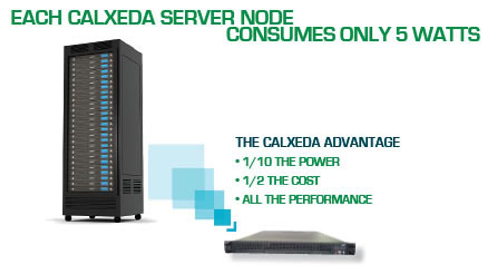 Slik illustrerer Calxeda fordelene med en ny ARM-basert serverarkitektur, med bedre balanse mellom beregning, minne, nettverk og lagring. 2U-enheten nederst til høyre består av 120 noder, hver med en firekjernet ARM-prosessor.