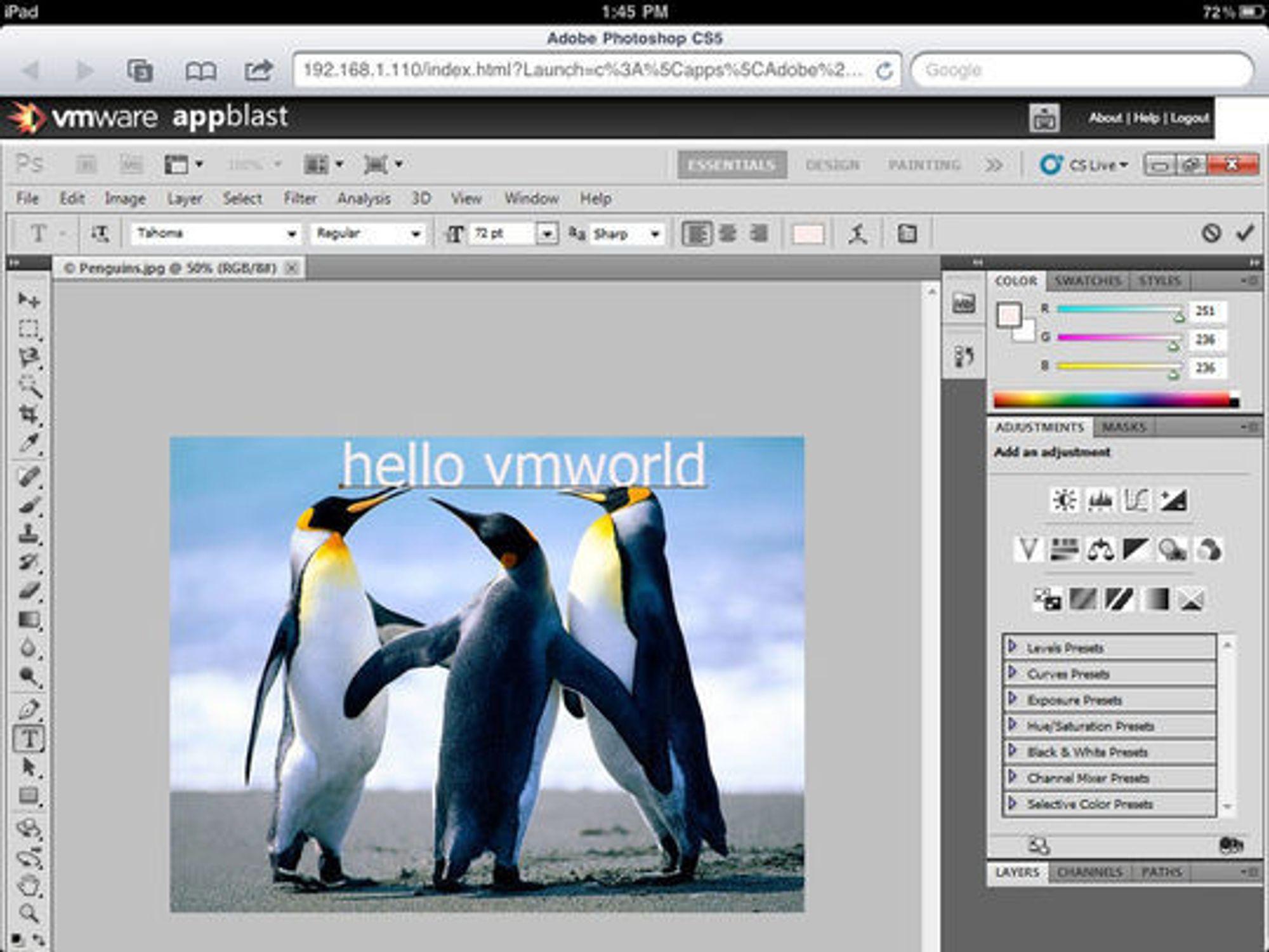 Skjermbilde fra iPad viser Adobe Photoshop kjørt i en nettleser.