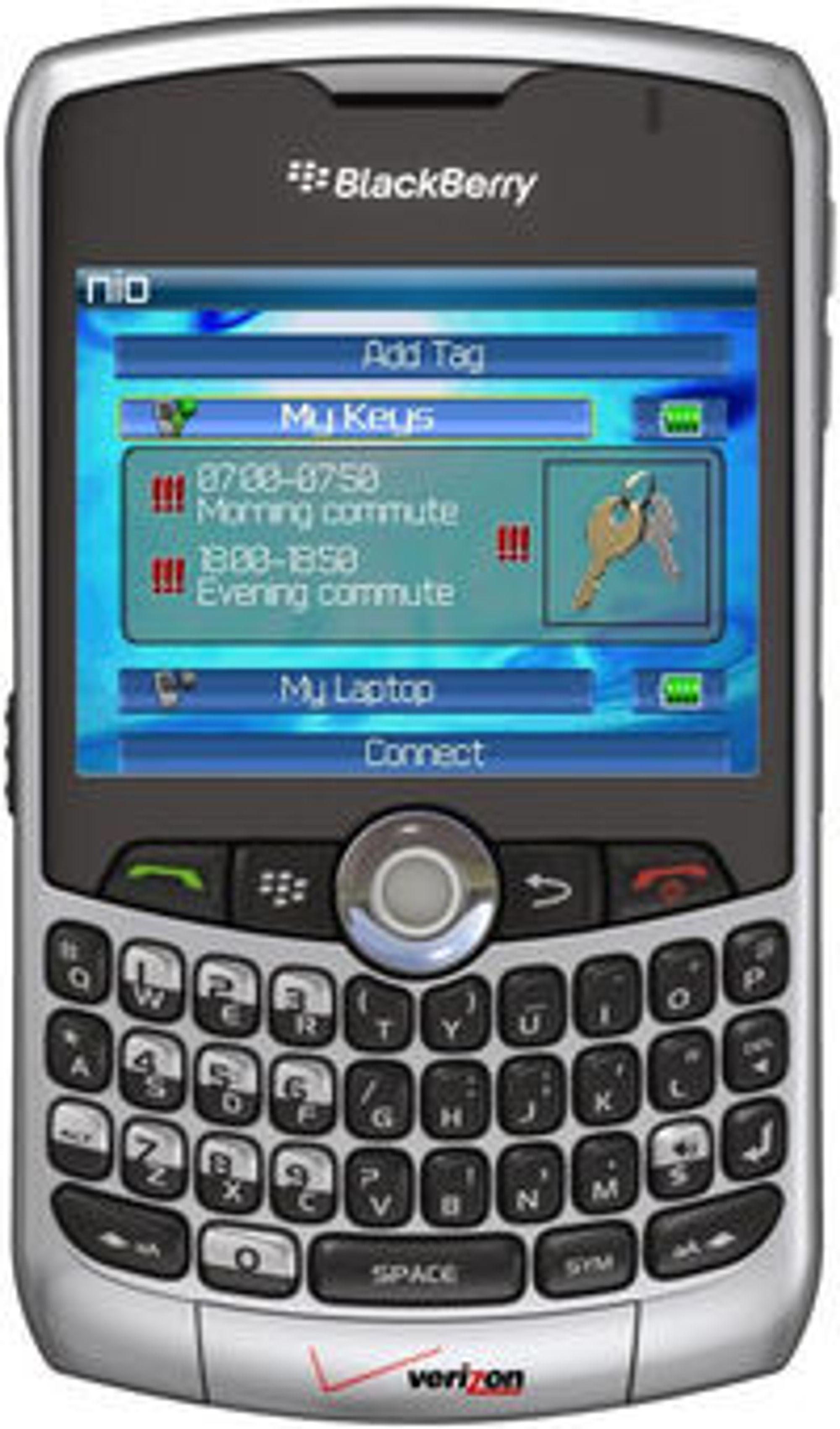 Nio på Blackberry: Skjermen viser at Nio-brikken på nøkkelringen er aktiv hver dag fra 0700 til 0750 og fra 1800 til 1850. Alle brikkene man har, styres fra Nio-programmet på mobiltelefonen.