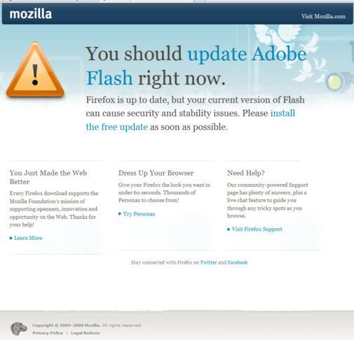 Kommende Firefox-advarsel om utdatert Flash Player
