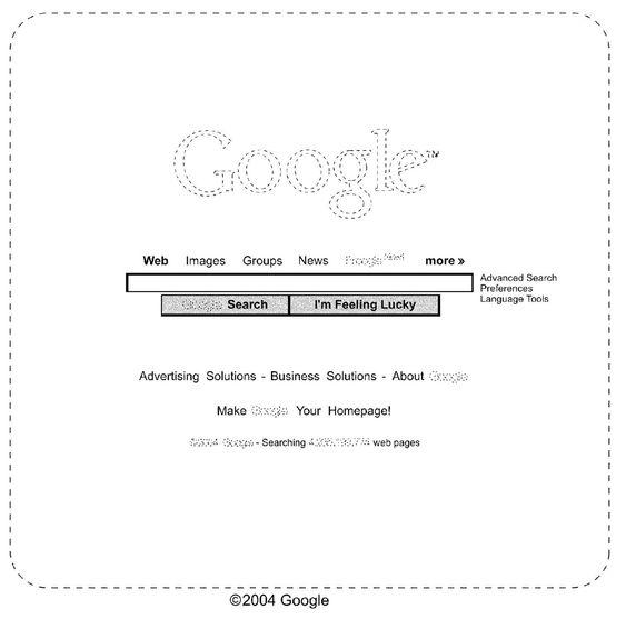 Brukergrensesnitt-designen som Google har fått patent på.