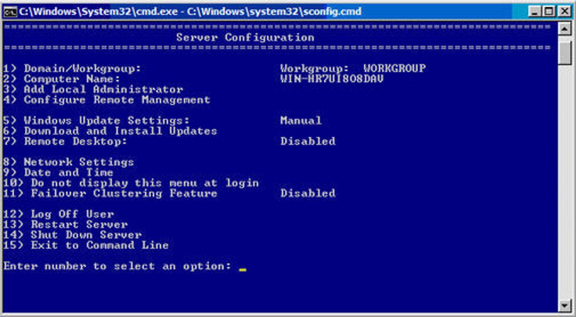 Hyper-V Server 2008 R2 har ikke grafisk brukergrensesnitt, men kan konfigureres med verktøyetServer Configuration.