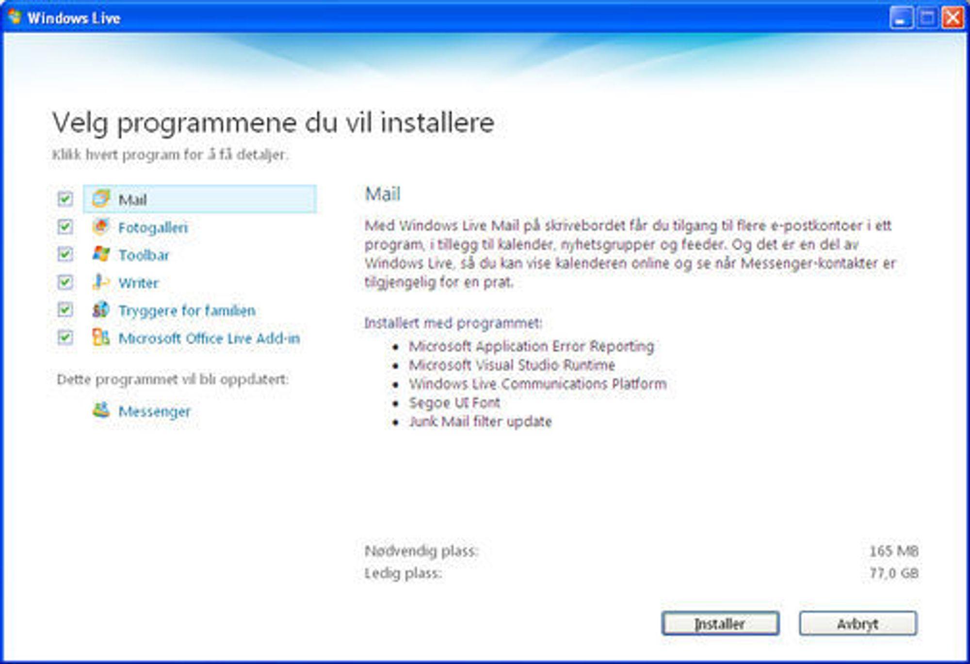 Ta vekk kryssene for programmene du ikke ønsker at skal installeres.