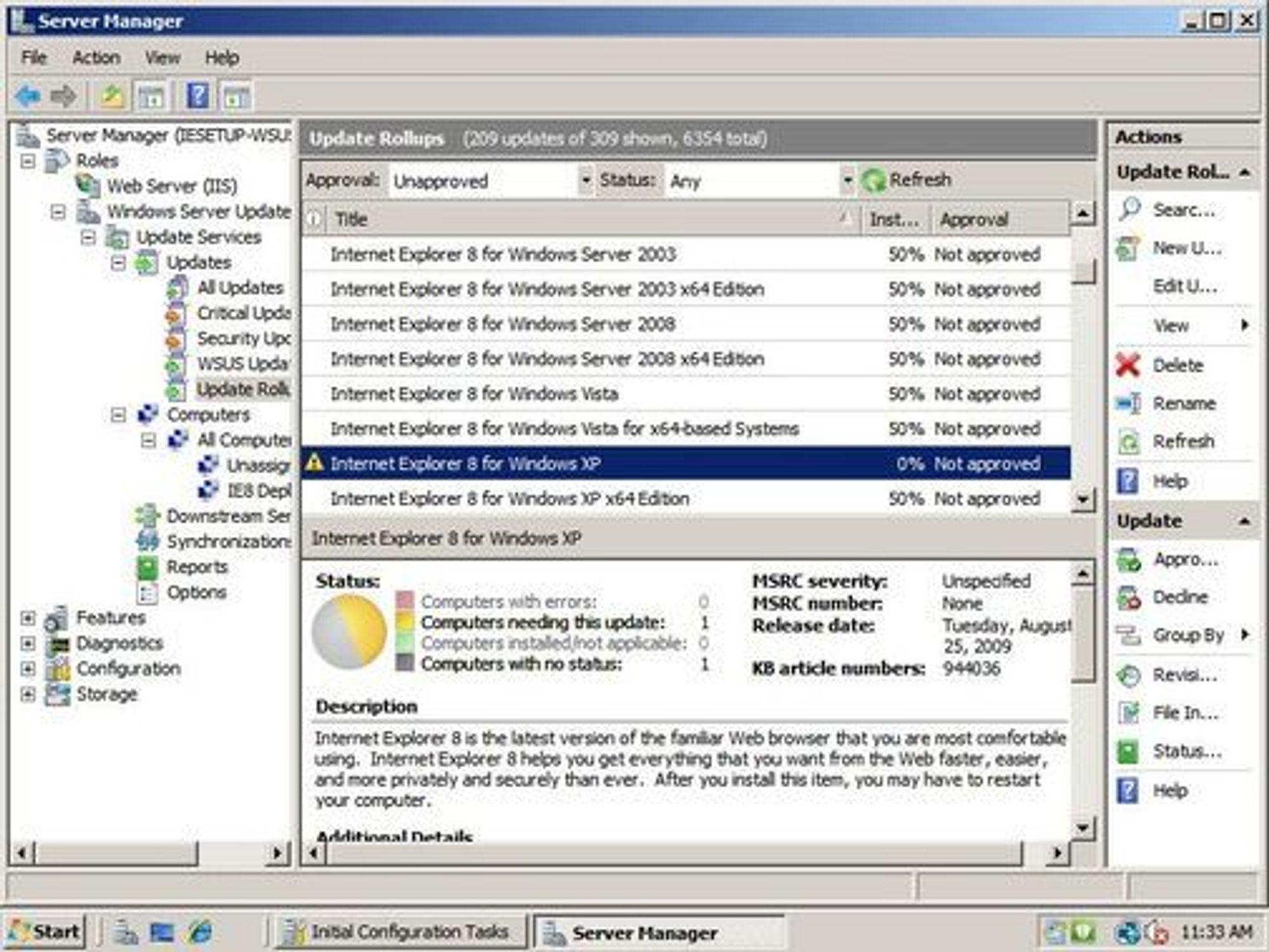 Utrulling av Internet Explorer 8 fra WSUS.