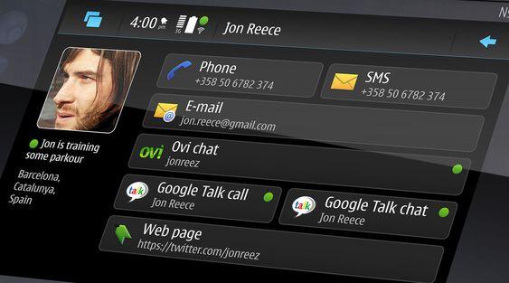 Nokia 900s felles adressebok for ulike typer tjenester