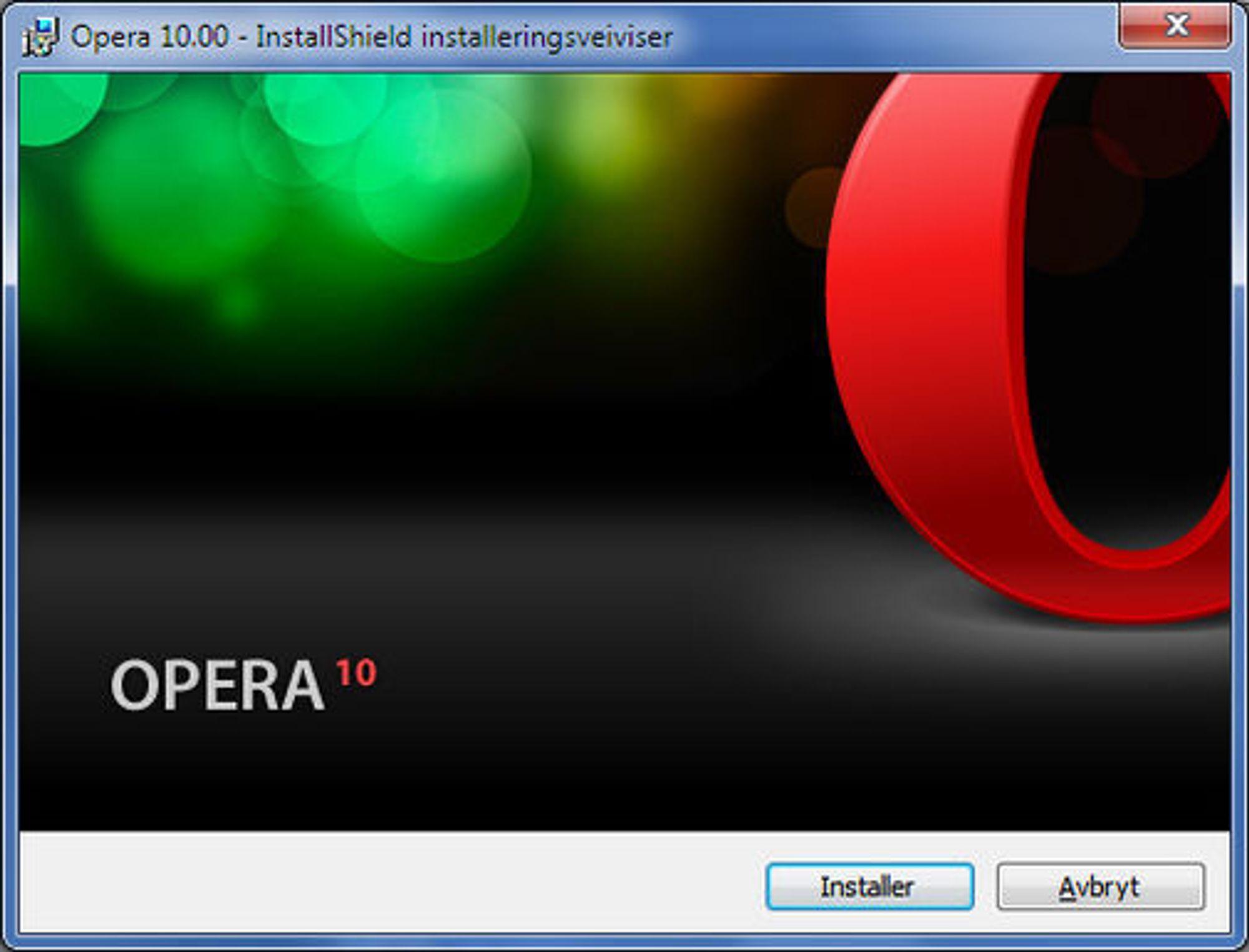 Installasjonsveiviseren til Opera 10 RC.