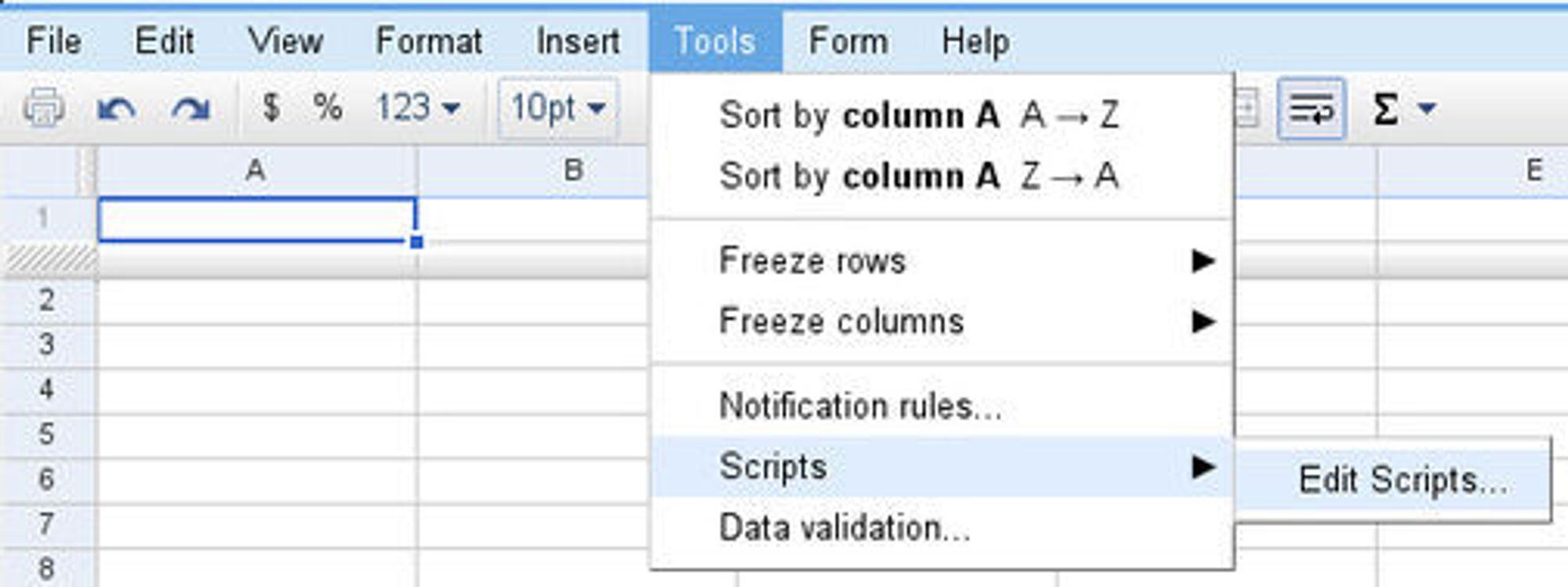 Skriptredigeringsverktøyet er tilgjengelig fra verktøymenyen i regnearkdelen av Google Apps.