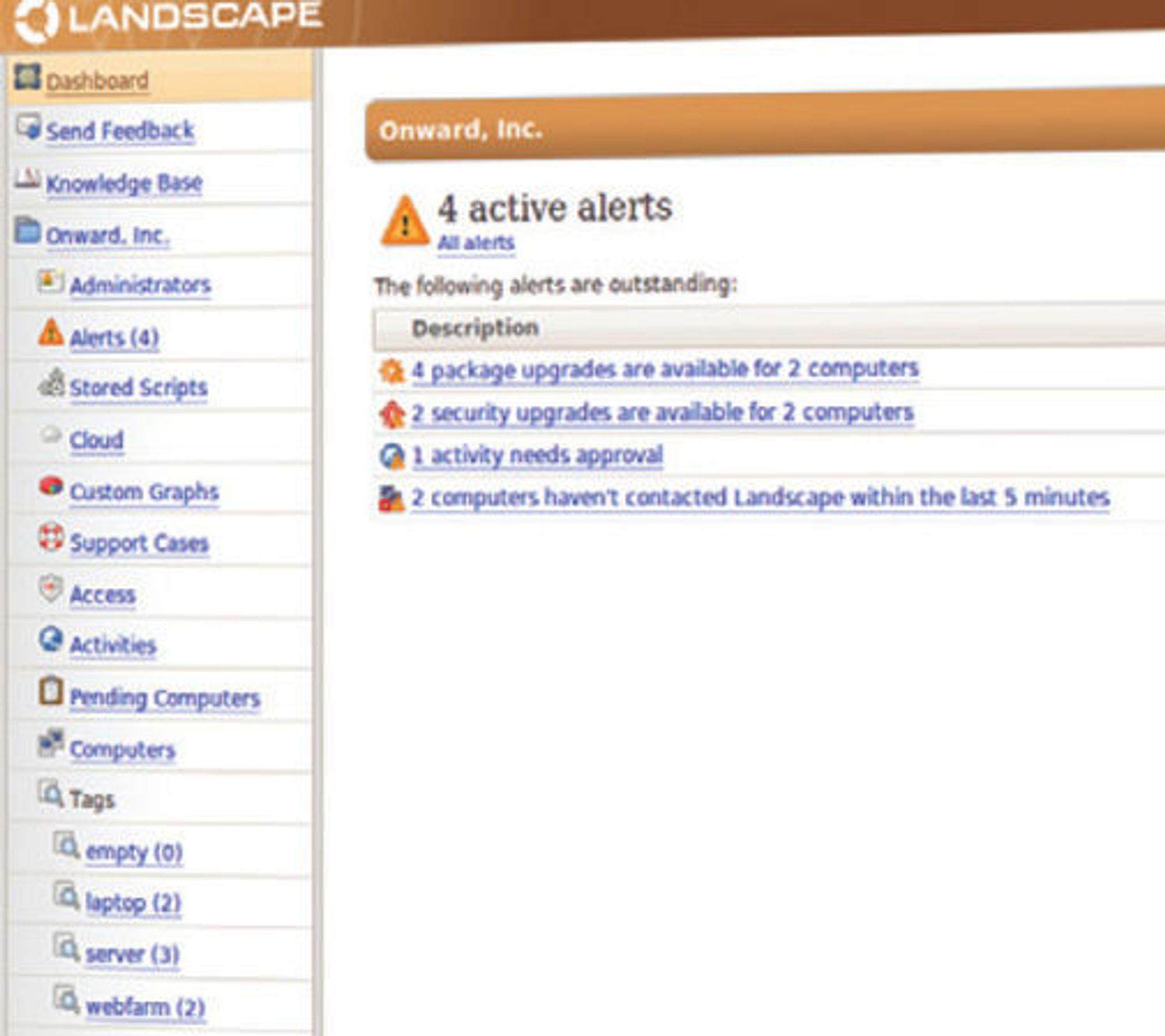 Utsnitt av brukergrensesnittet til Landscape.