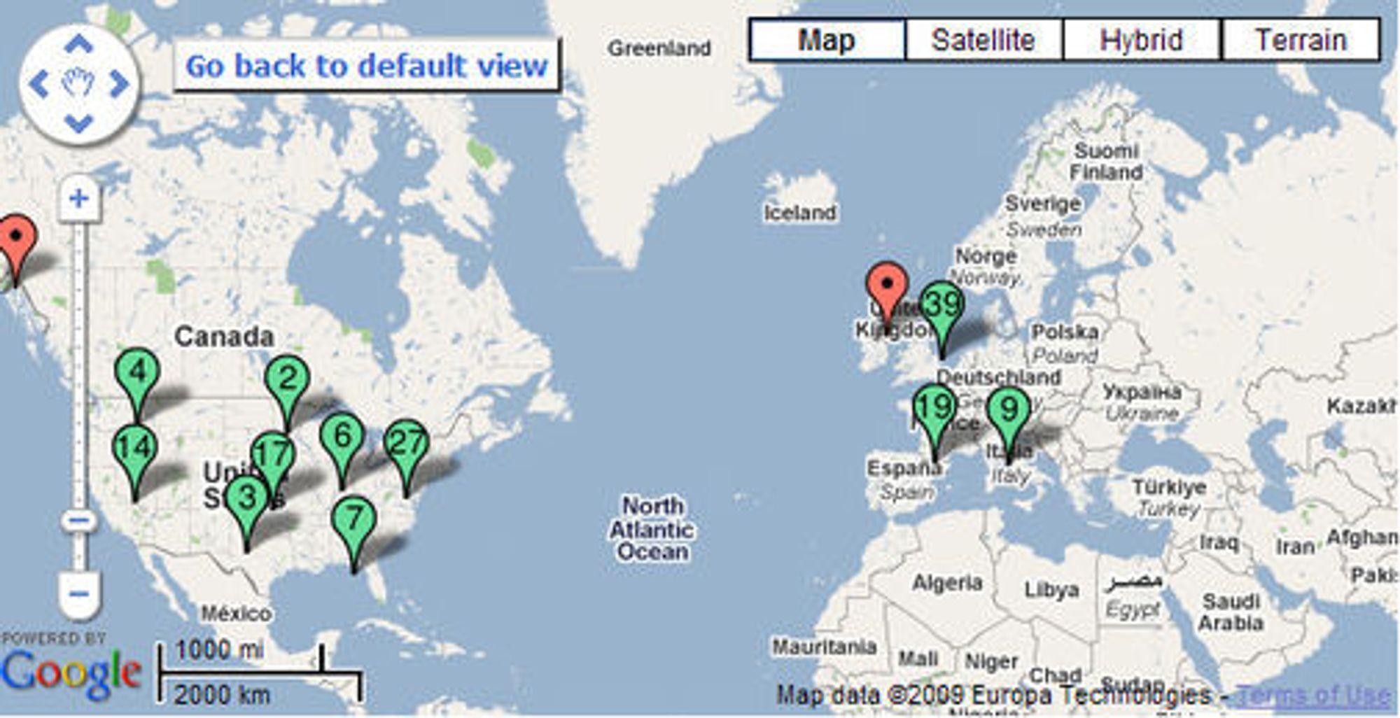 Karter viser hvor i verden Street View er tilgjengelig.