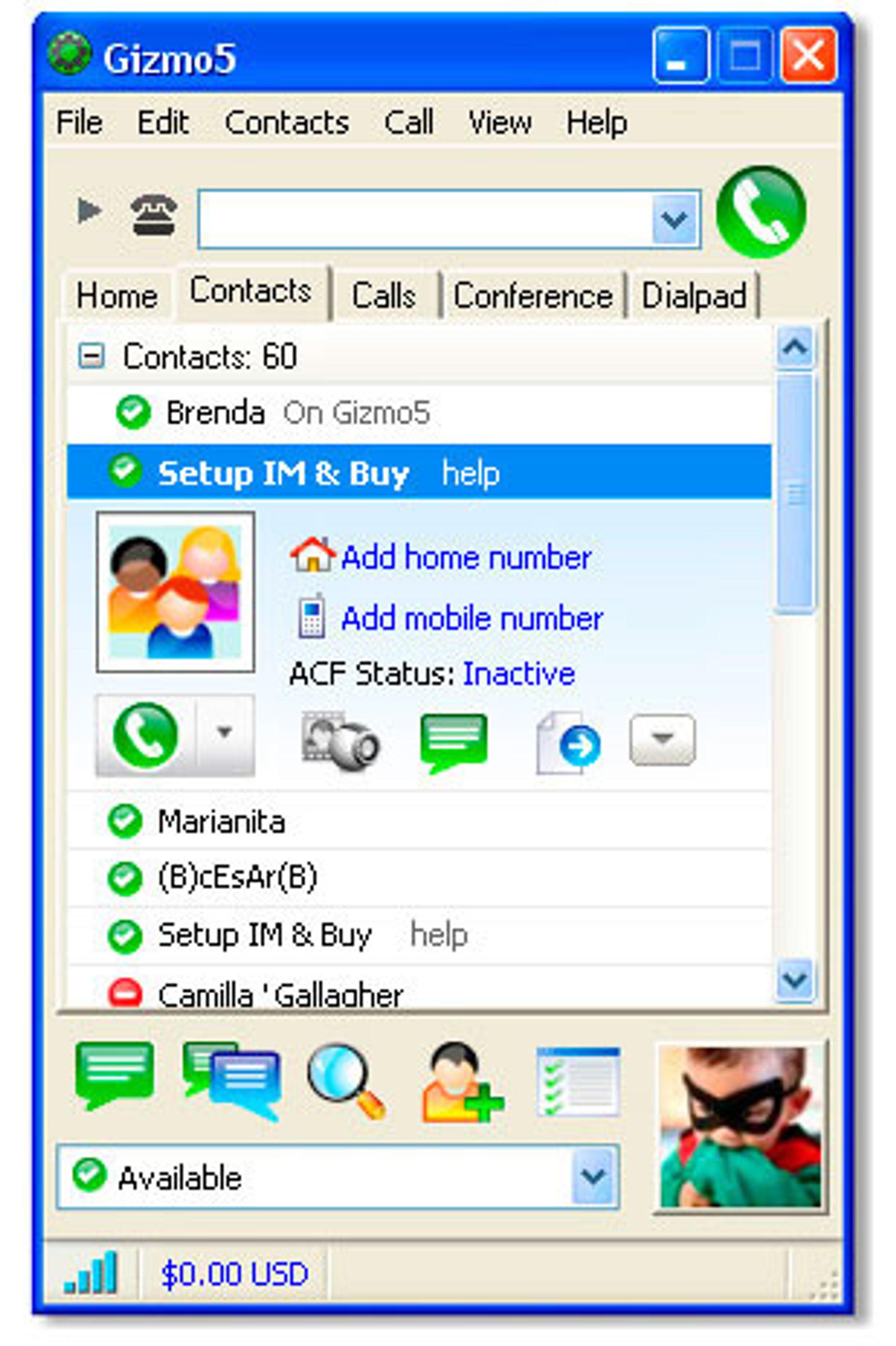Gizmo5 fungerer prinsipielt på samme måte som Skype, men anvender den åpne standarden SIP framfor en proprietær protokoll.