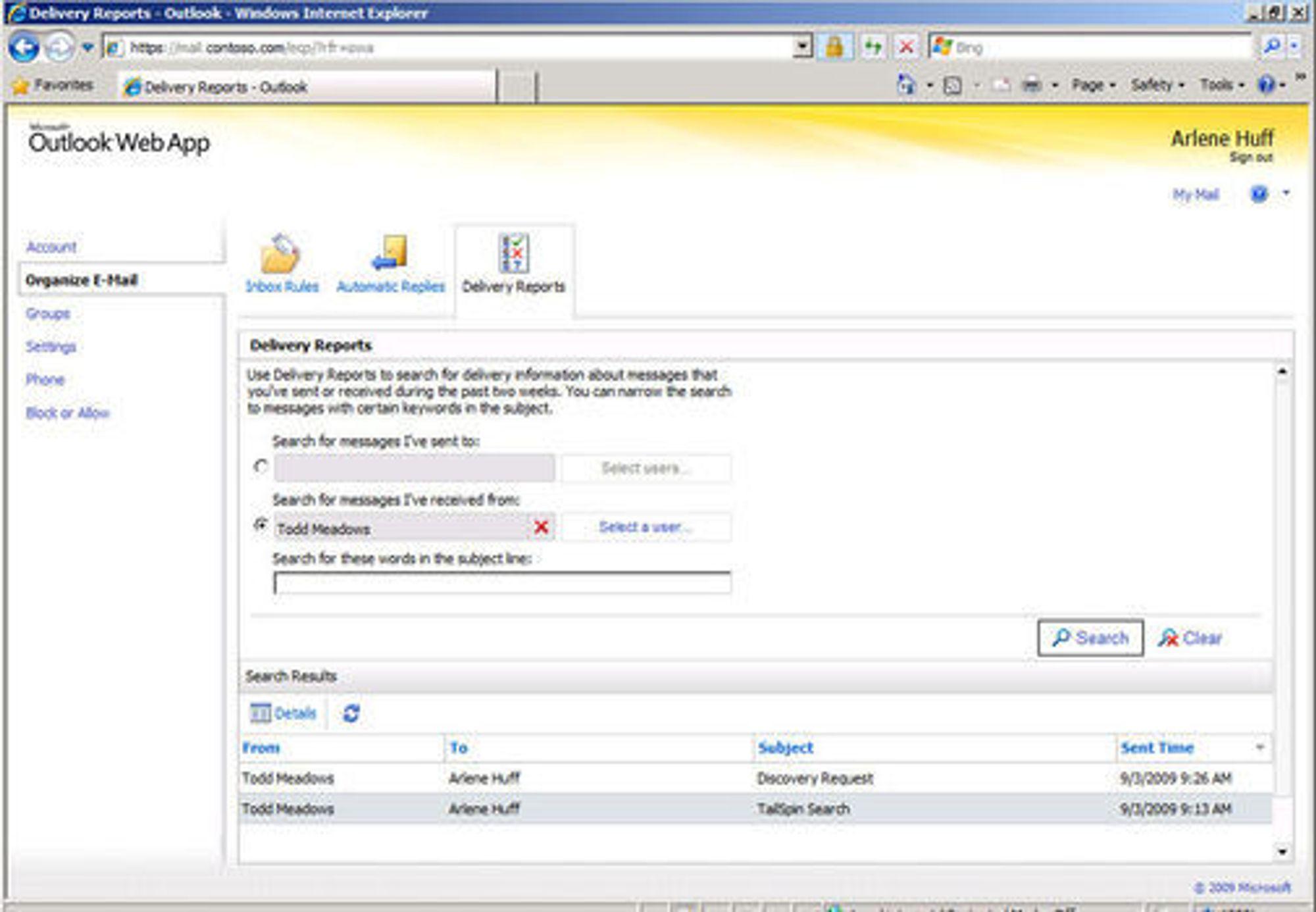 Exchange Control Panel gir den enkelte bruker tilgang til å administrere deler av kontoen selv.