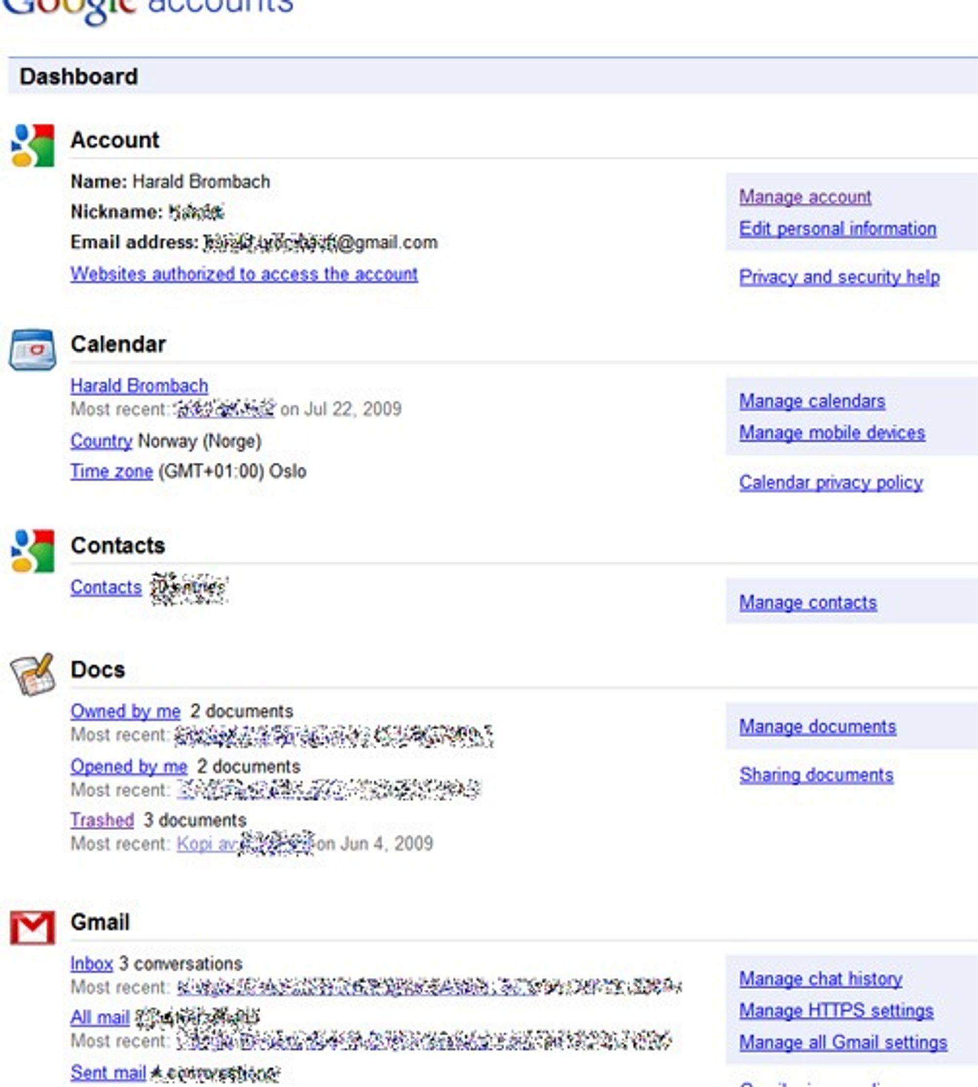 Google Dashboard viser data og statistikk fra en rekke Google-tjenester, blant annet de som vises her.