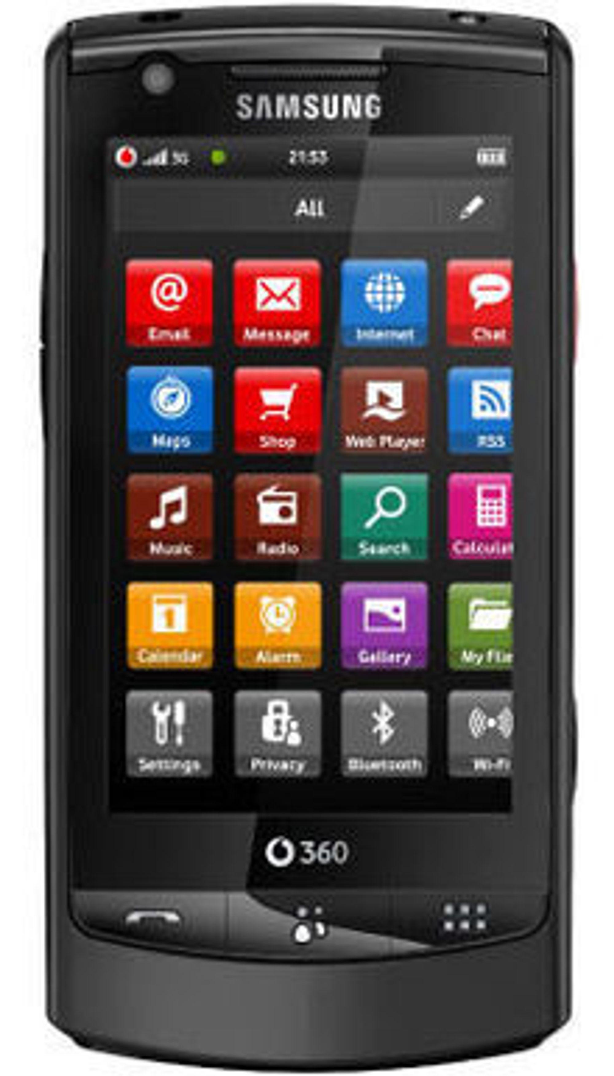 Vodafone 360 Samsung M1 er en middels godt utstyrt LiMo-basert smarttelefon med 3,2 tommers berøringsskjerm.