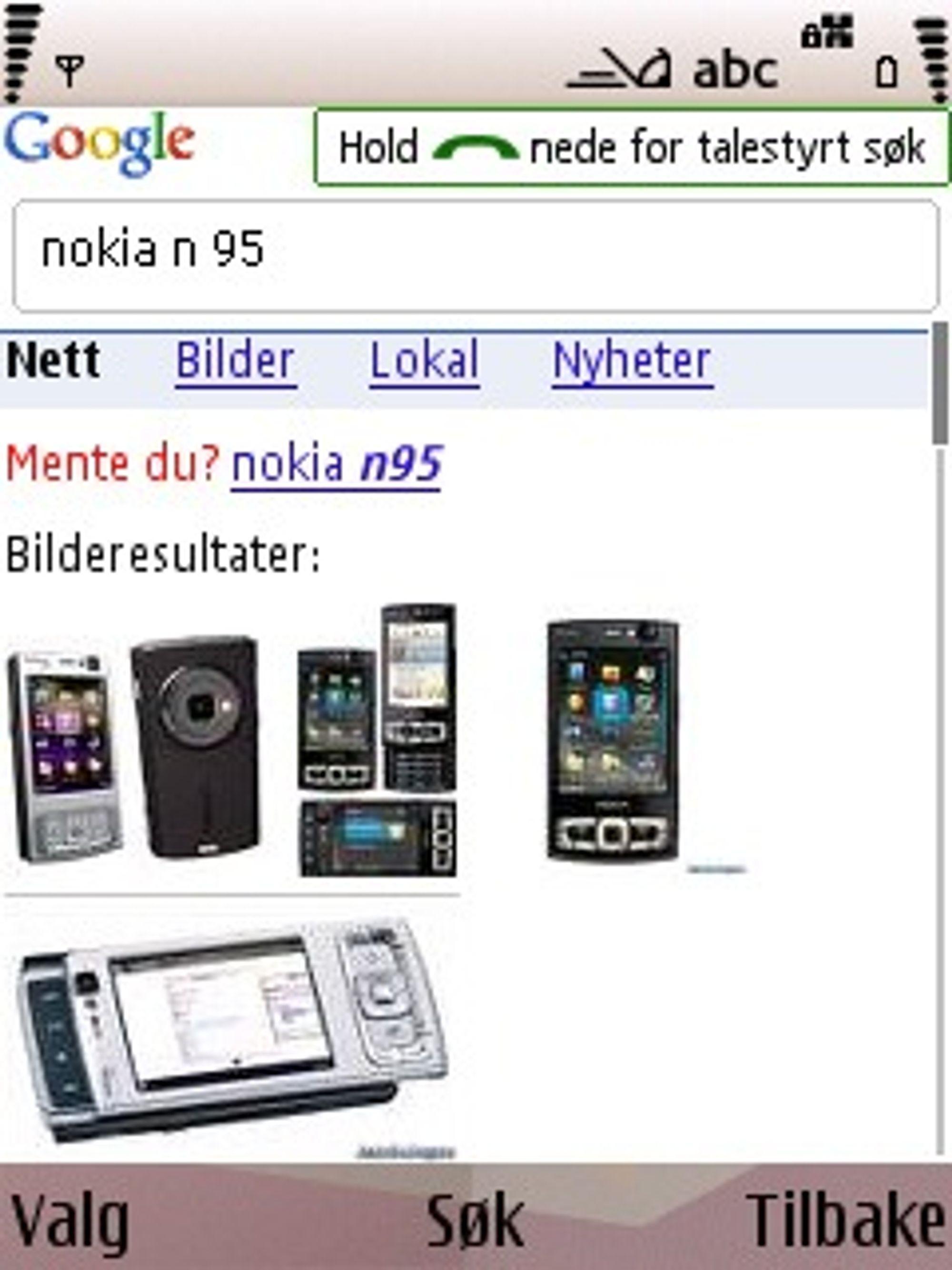 Talestyrt Google-søk på Nokia N95