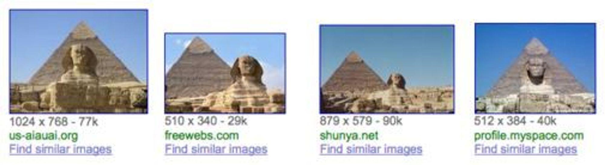 Googles bildesøk med Simular Images