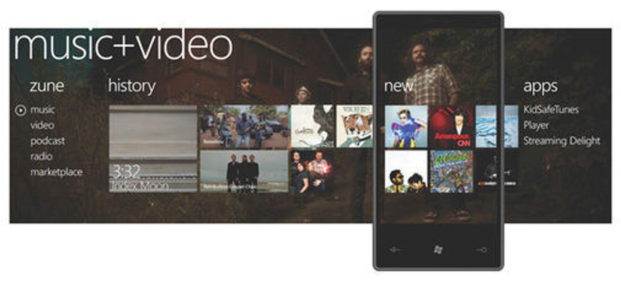 Musikk- og video-navet i Windows Phone 7 Series.