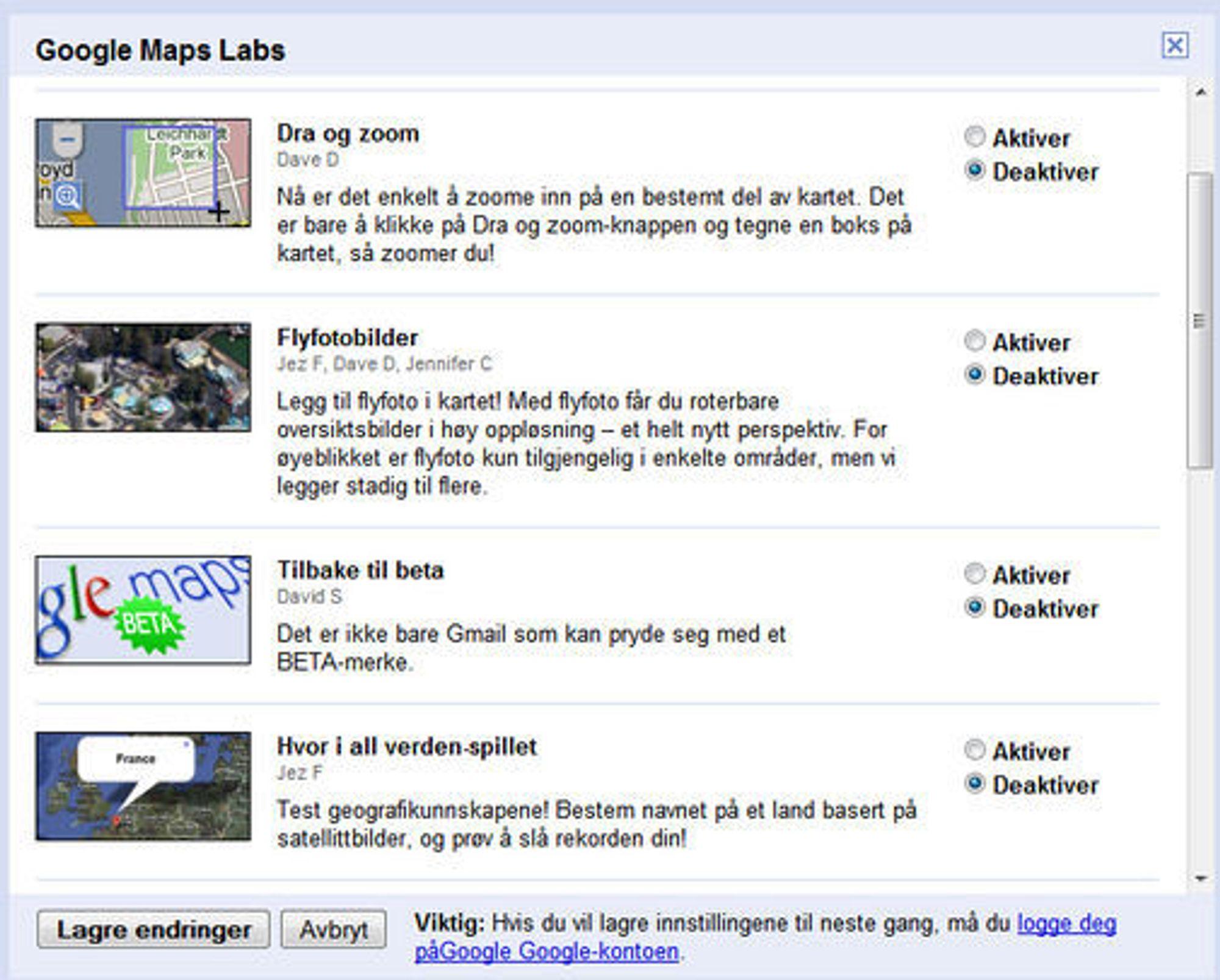 Deler av kontrollpanelet for den eksperimentelle Google Maps Labs-funksjonaliteten.