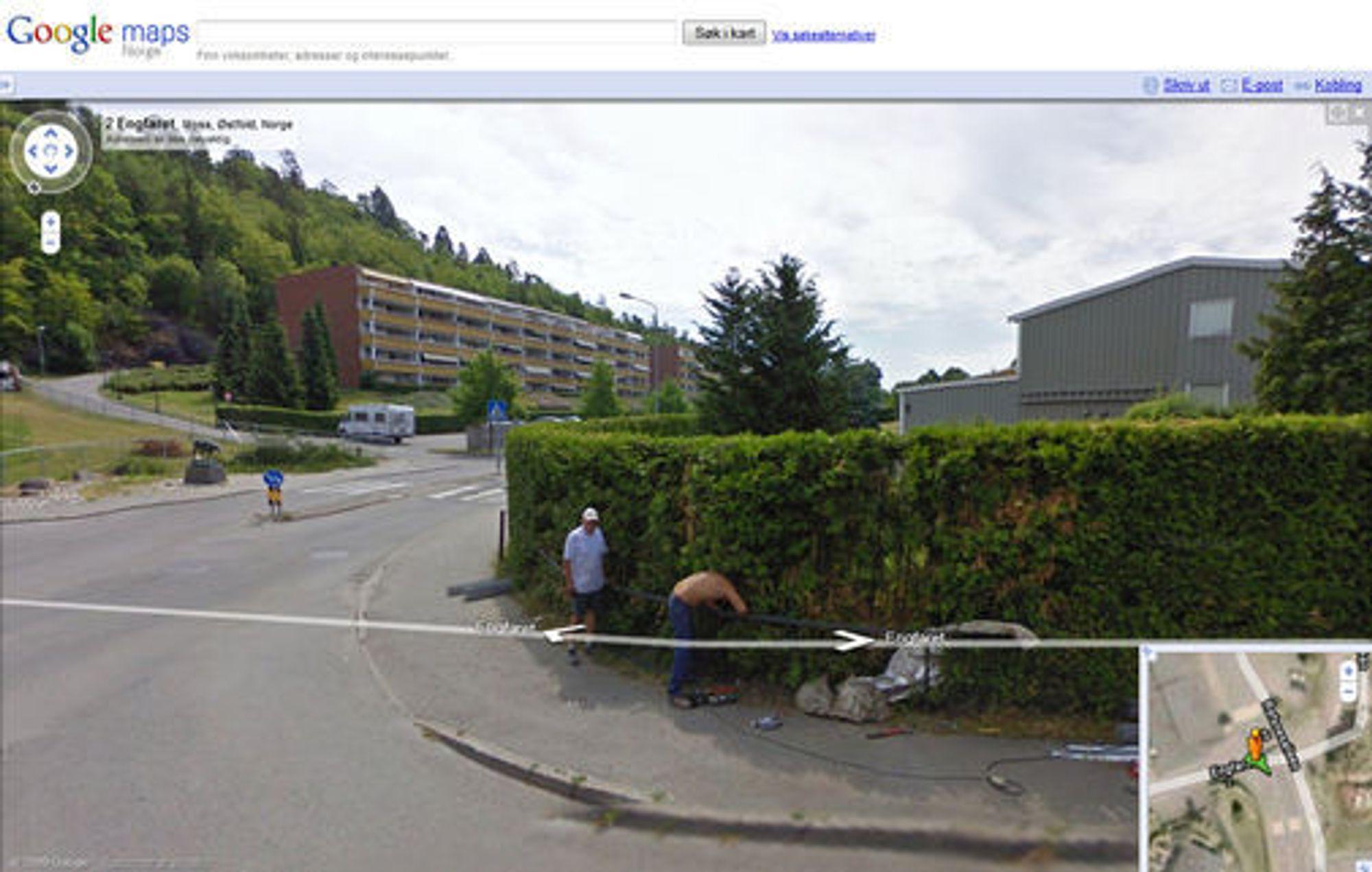 Google Street View uten sensur av ansikter.