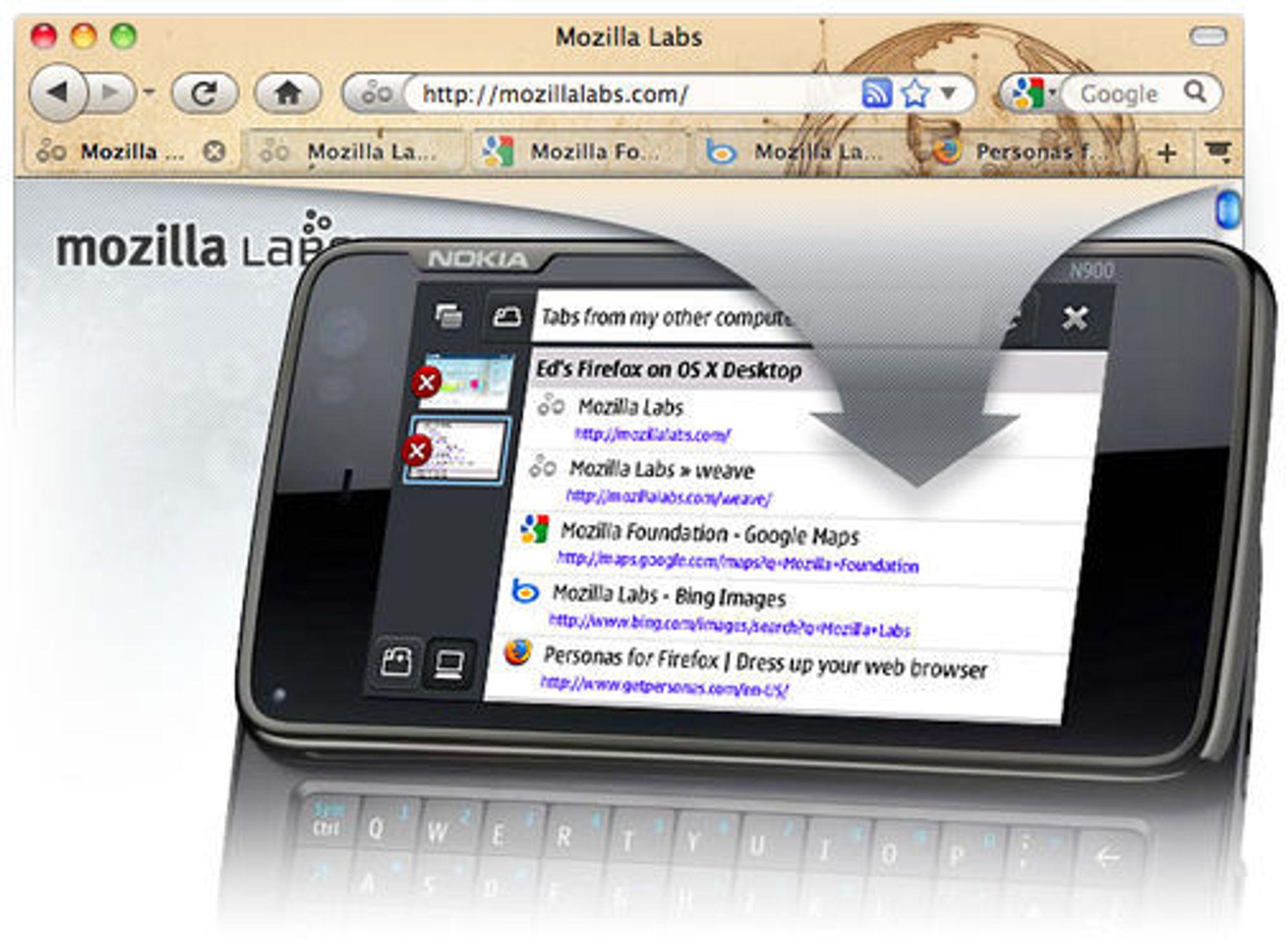 Weave gjør det mulig å synkronisere brukerdata mellom Firefox på pc-en og Firefox på mobilen.