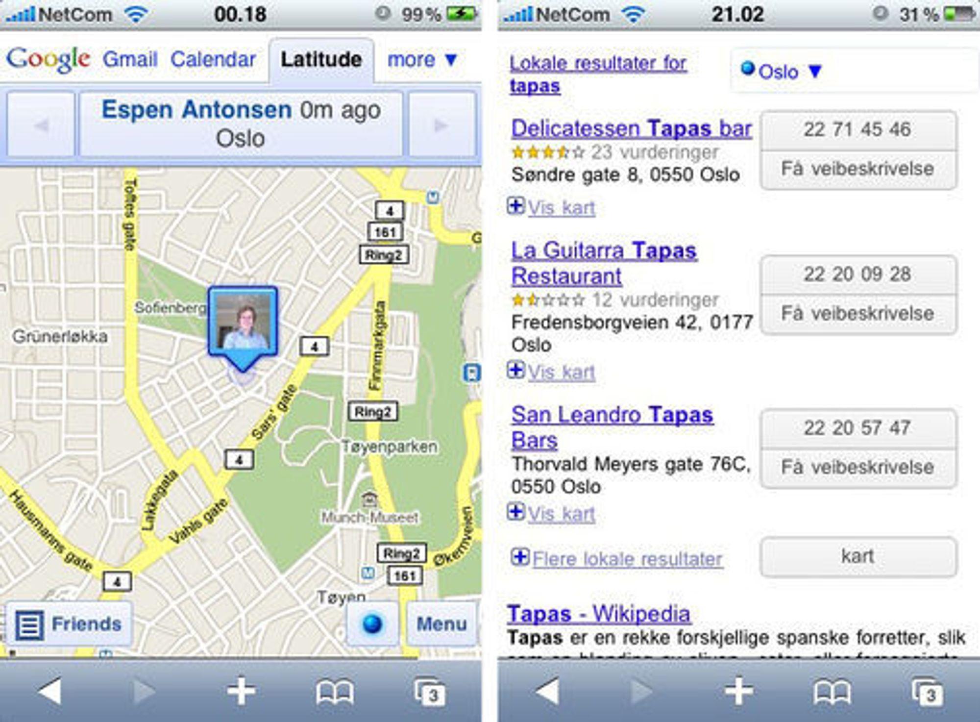 Posisjonering med Google Latitude og lokalt søk.