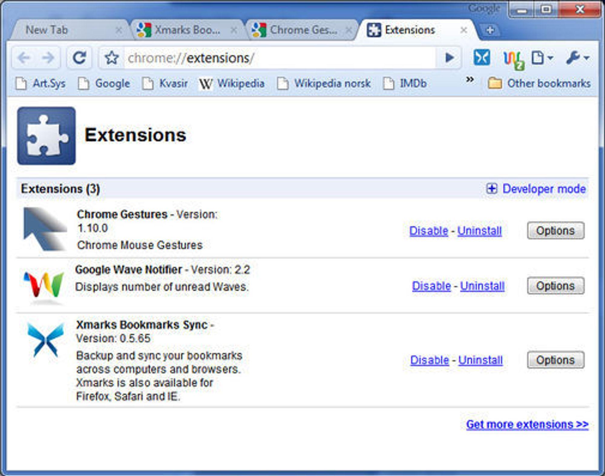 Utvidelser (Extensions) i Google Chrome.