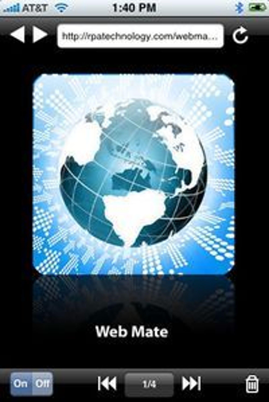 Web Mate lar iPhone-brukerne laste flere websider på en gang og bla mellom disse med kontrollene nederst.