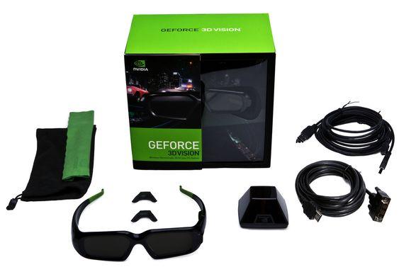 Innholdet i Nvidia GeForce 3D Vision-pakken.