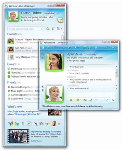Glimt fra Windows Live Messenger 2009